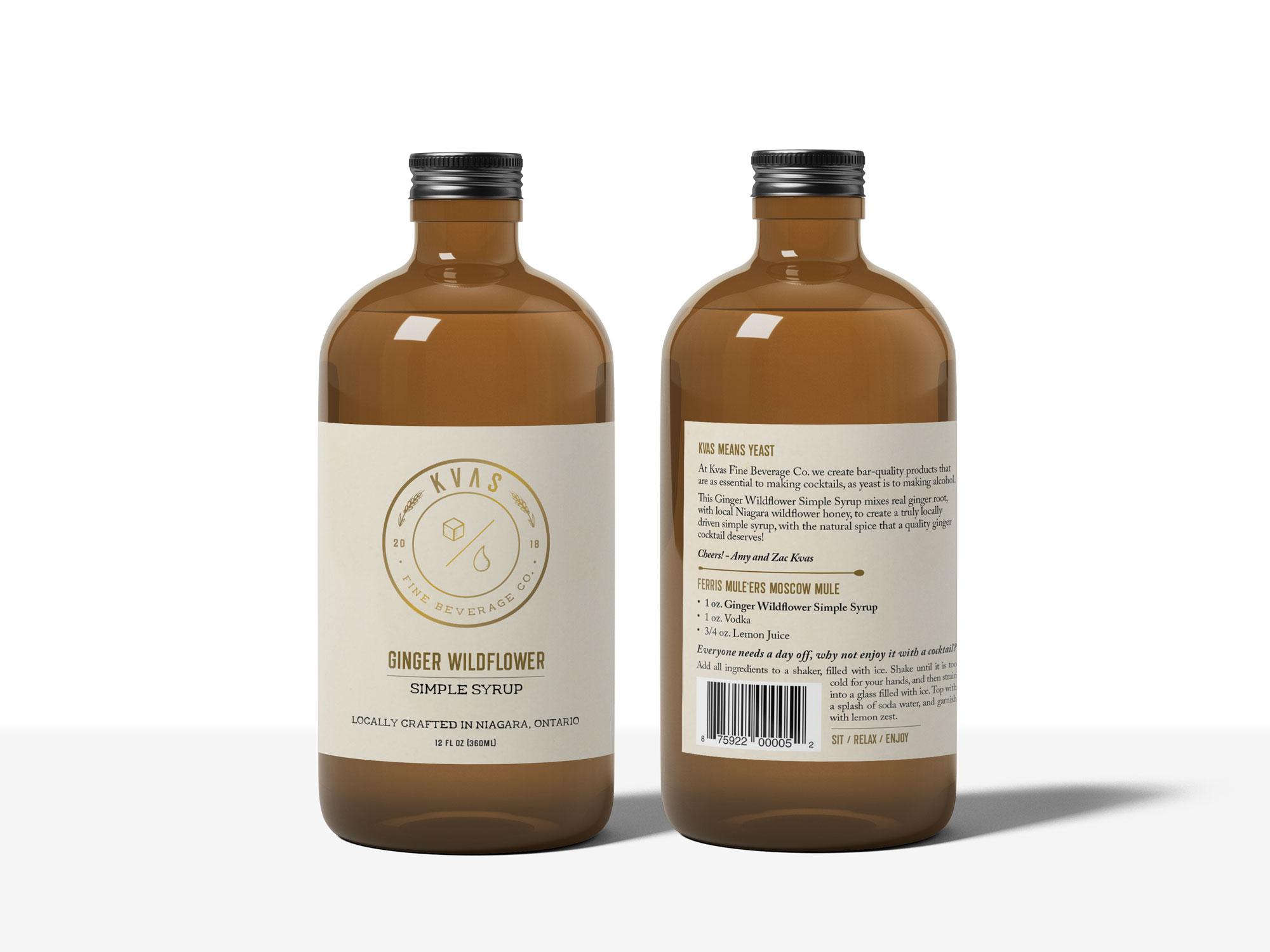 Kvas Fine Beverage Co. diner wildflower simple syrup label design.