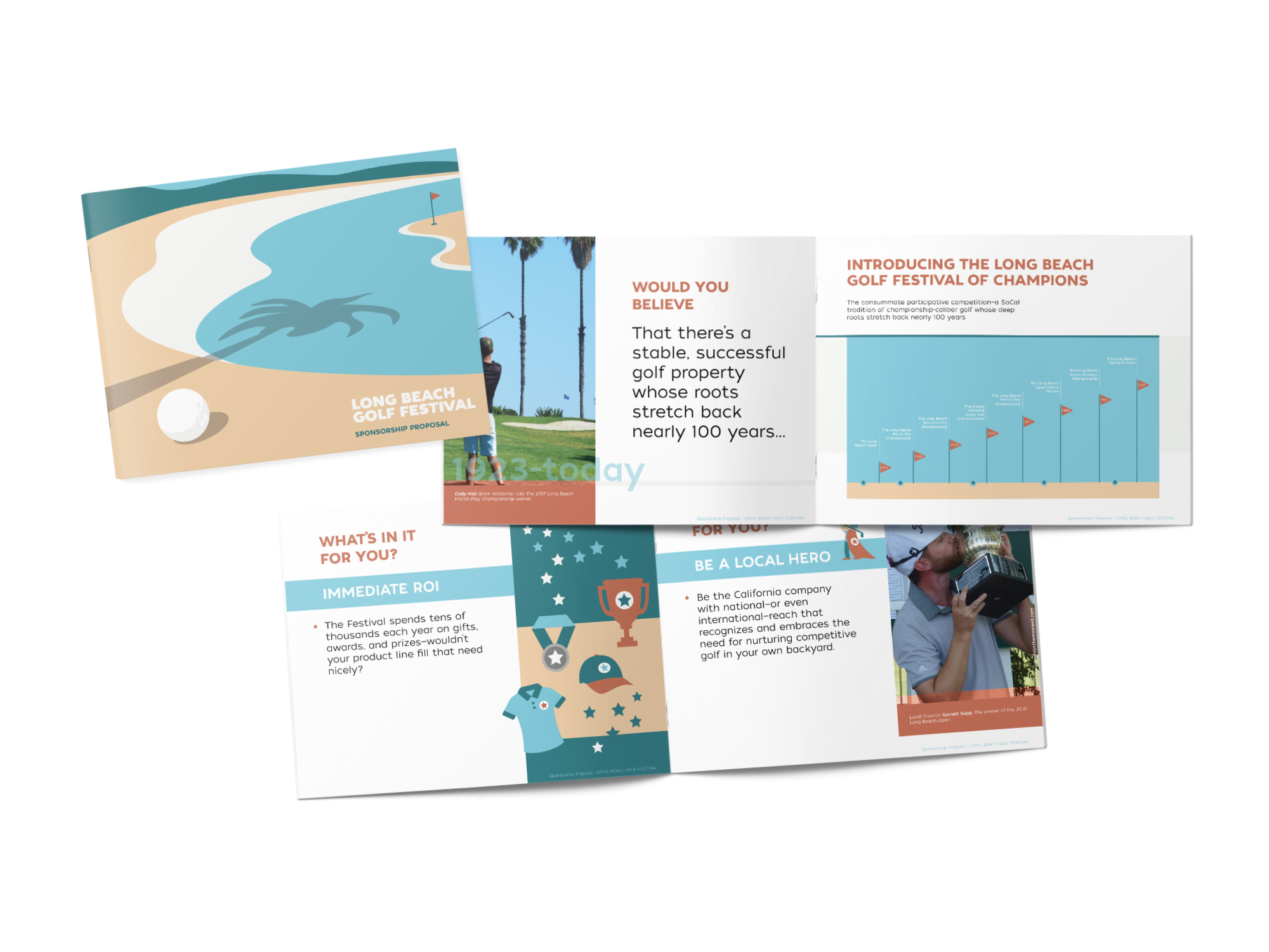 Vector illustrated open spread print mockup of Long Beach Golf Festival sponsorship package