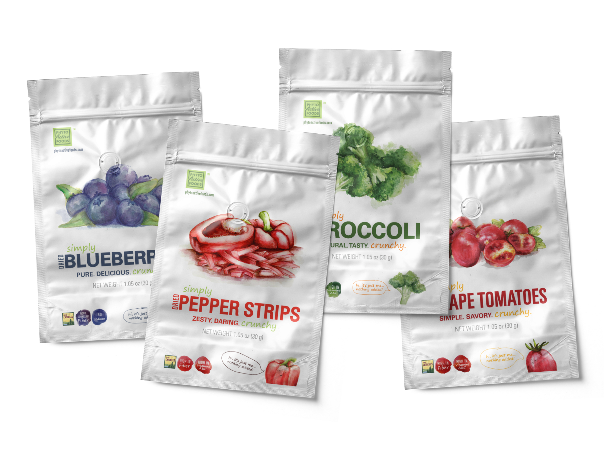 A set of four empty Phyto Active Foods packages illustrated, hand painted watercolour and designed by Tortuga Creative Studio featuring fruit and vegetable artwork.