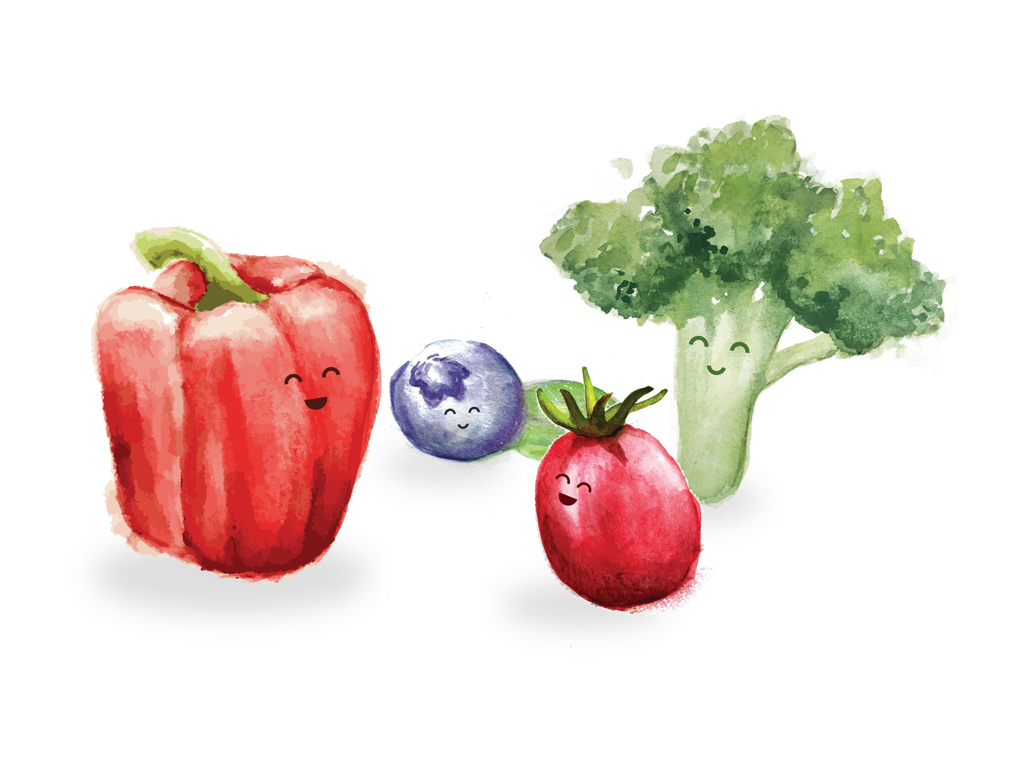 A collection of cute hand painted watercolour red bell pepper, blueberry, broccoli and grape tomato with faces.