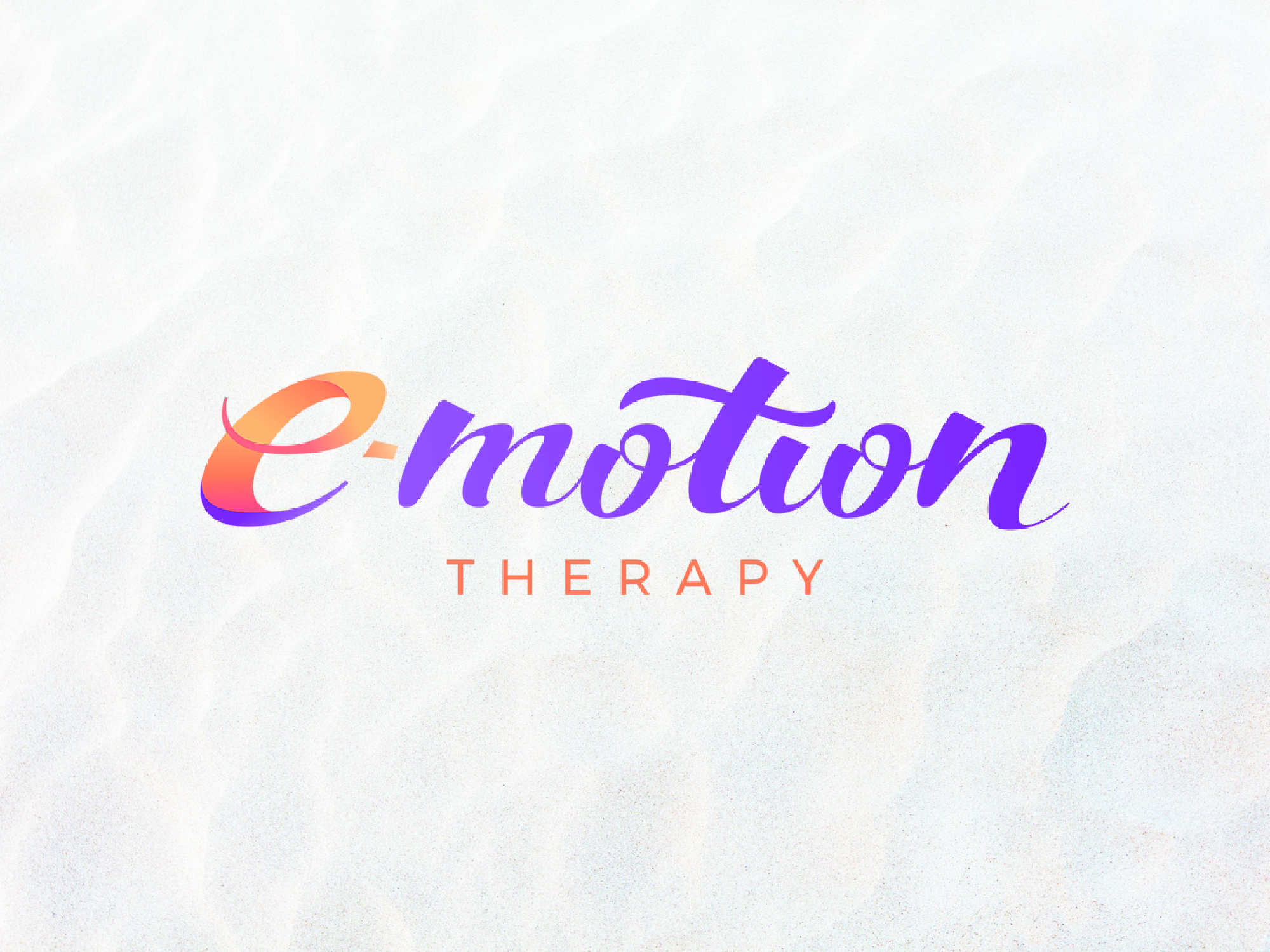 Modern script hand lettered logotype featuring a warm gradient brand mark letter E for E-motion Therapy.