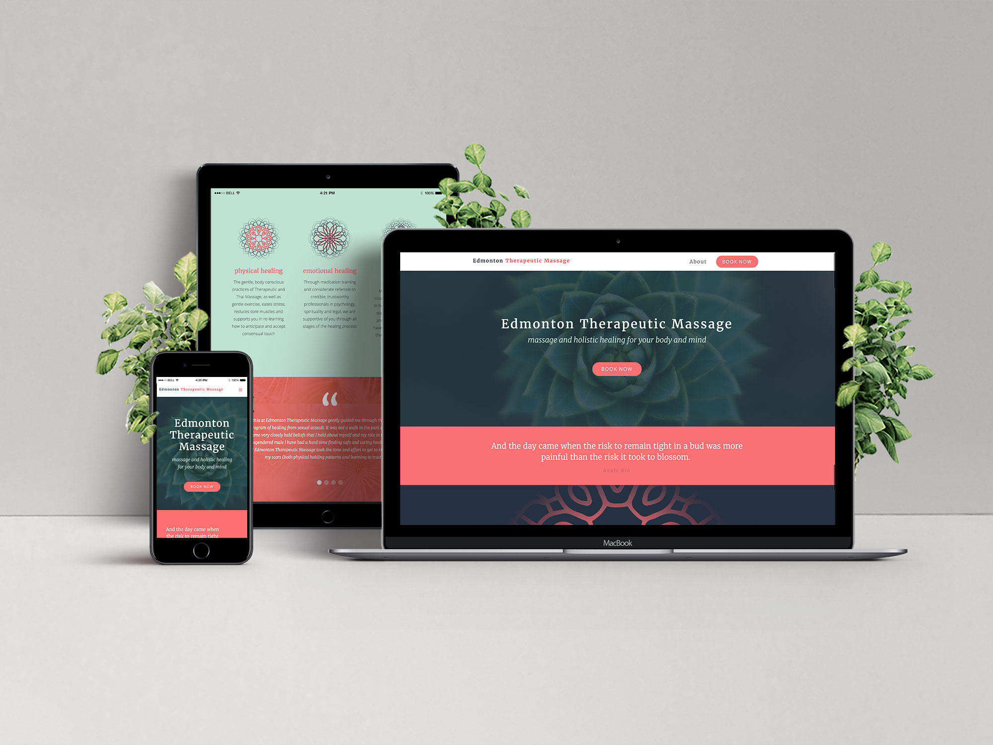 Health and wellness inspired web design for Edmonton Therapeutic Massage showcasing the hero and services sections of the landing page for desktop, tablet and mobile breakpoints.