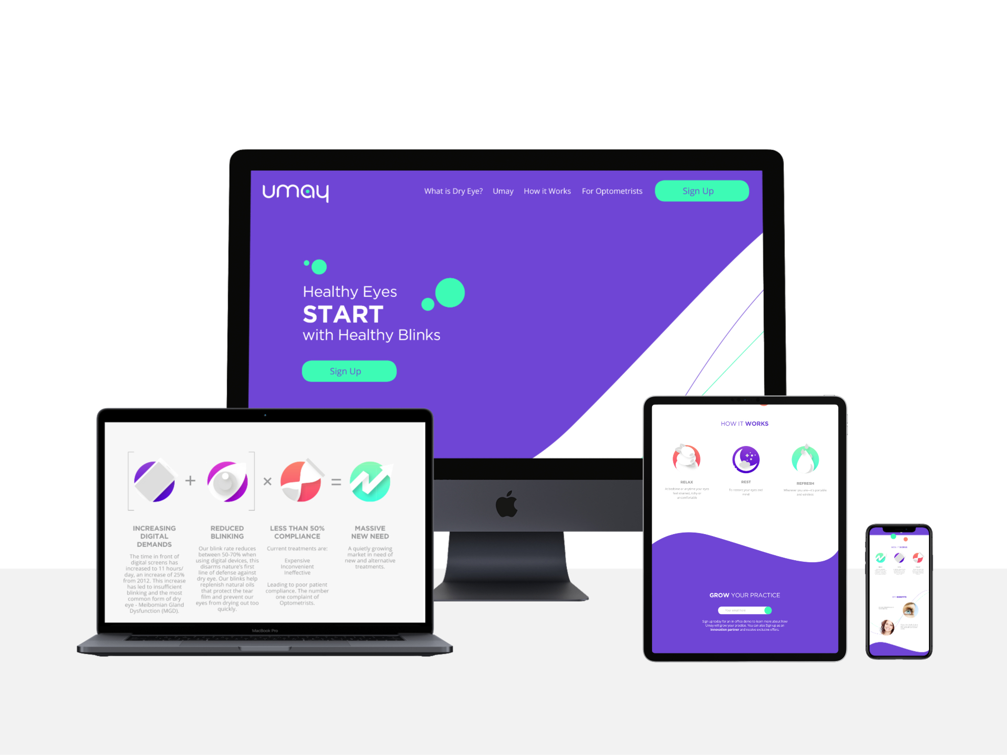 Clean web design for Umay showcasing the hero why and how sections of the landing page for desktop, tablet and mobile breakpoints.