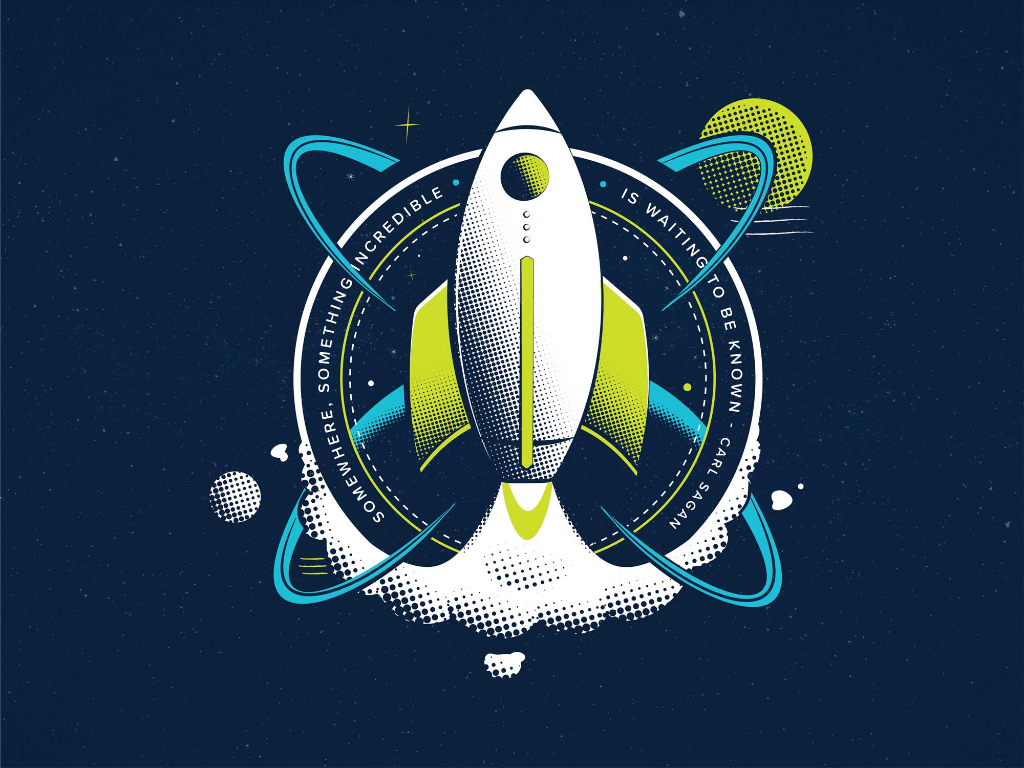 Retro, digital illustration of a rocket in space featuring bright yellow and white on a dark blue sky with halftone shading.