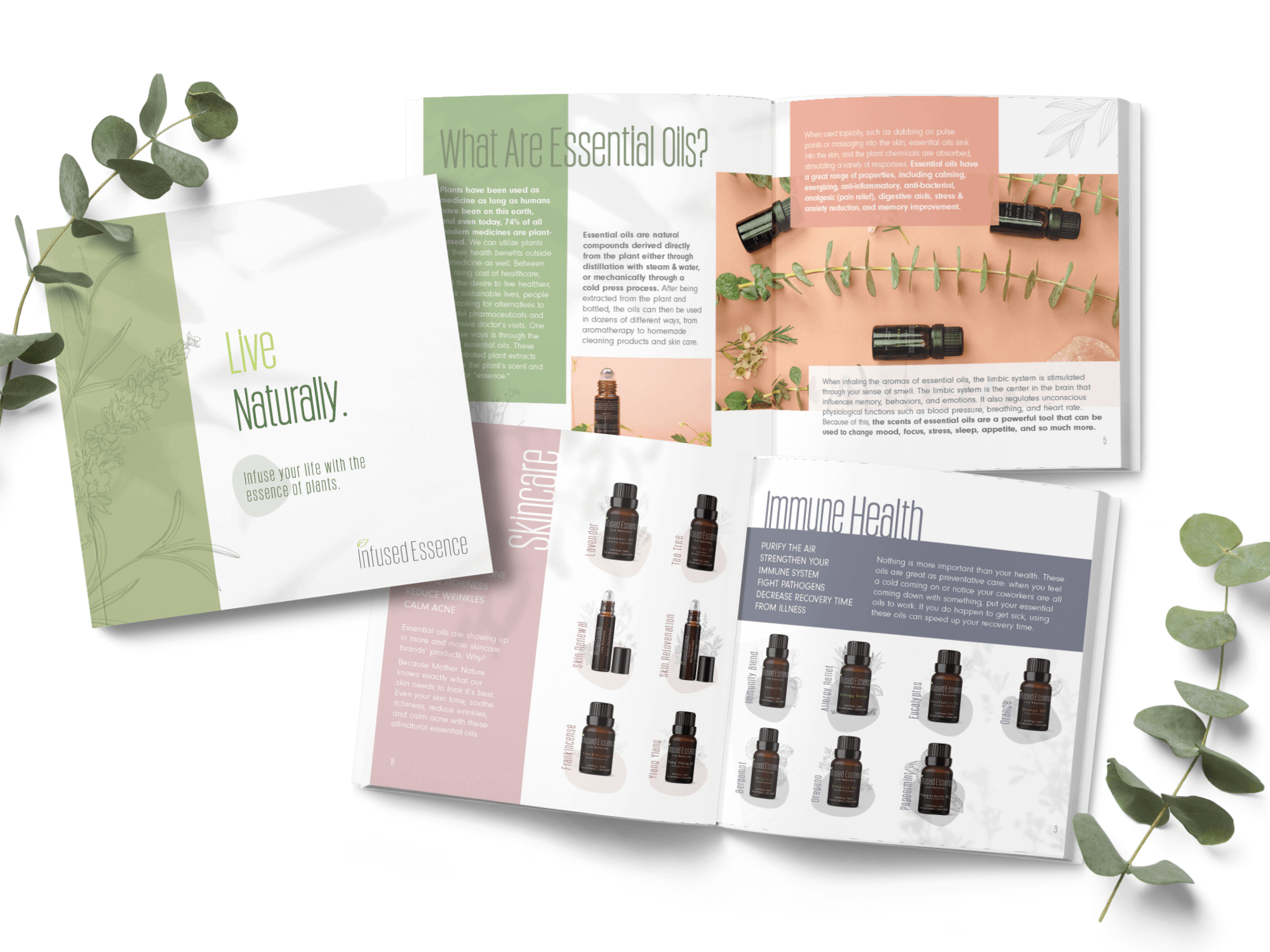 Clean essential oil company Infused Essence print layout design.