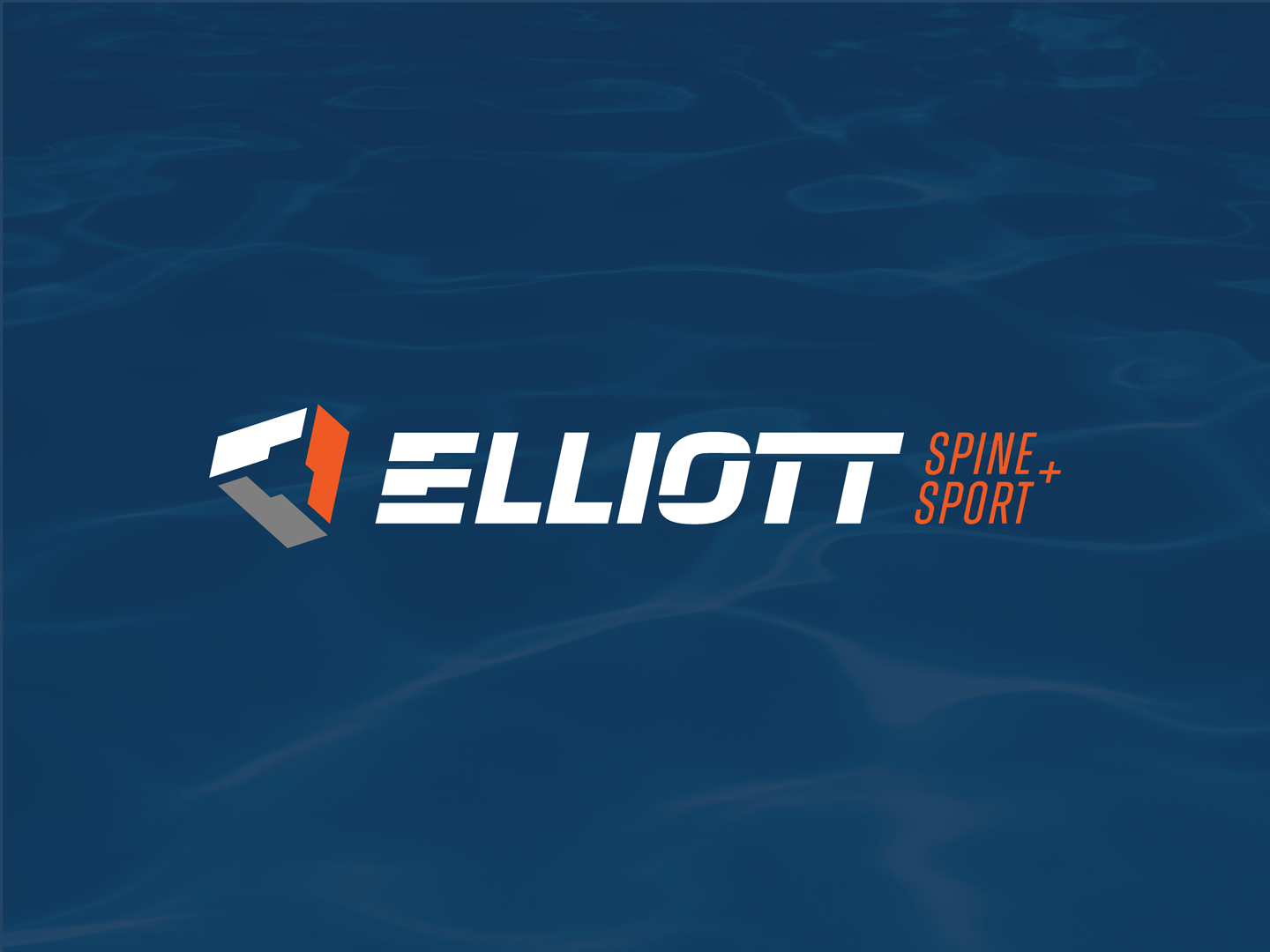 Modern, athletic logo design featuring a tripartite brand mark and a custom letter E mixed with vertebrae for Elliott Spine and Sport.