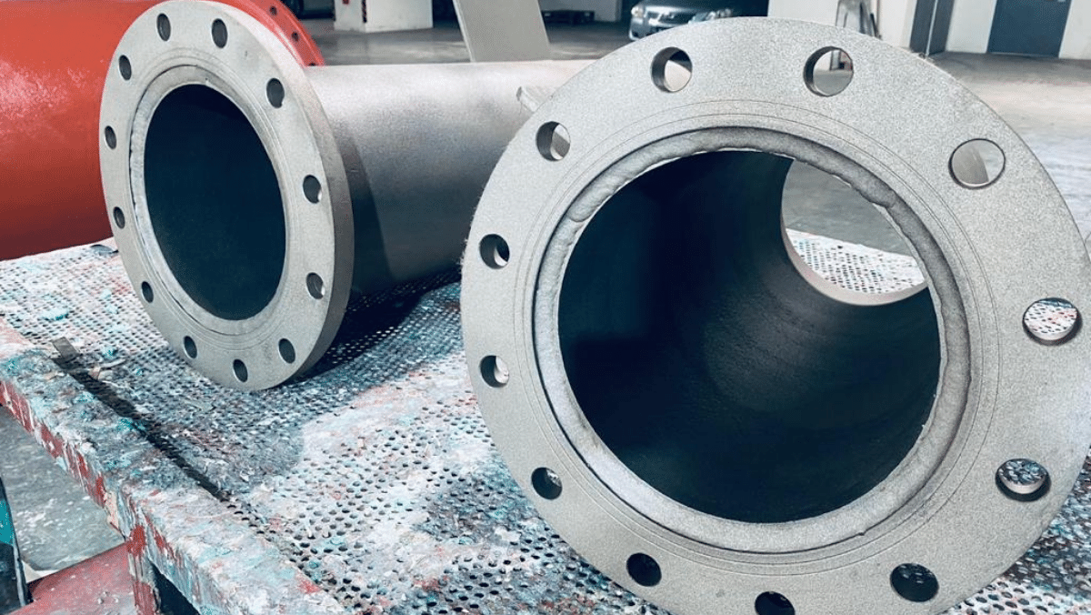 Grit Blasted New Scrubber Overboard Spool Pipes