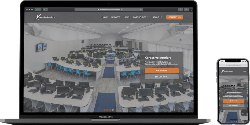 A mockup displaying Xpressive Interiors Ltd new homepage on a Macbook and an iPhone X