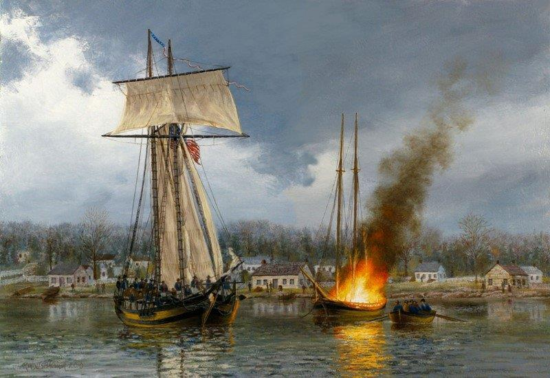 American Attack on Ernestown, painting by Peter Rindlisbacher