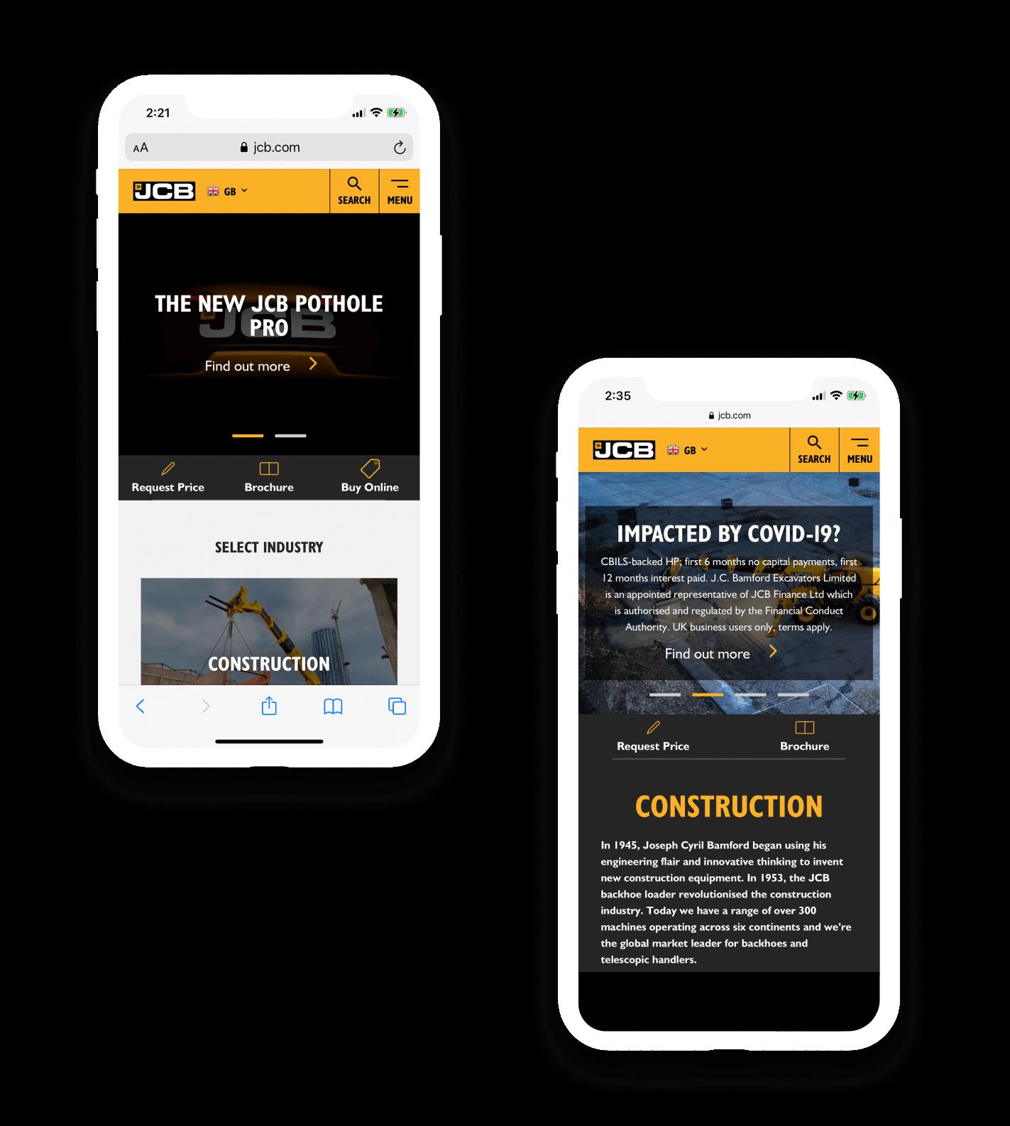 JCB website design