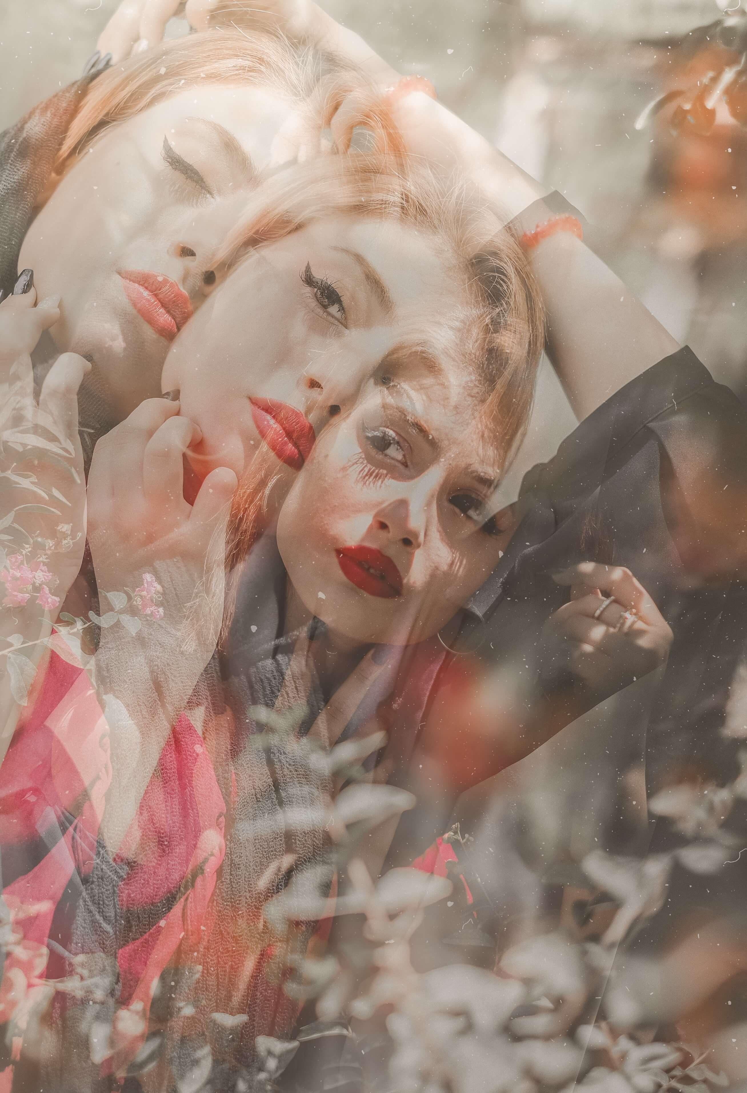 Blurry self-image in mirror.