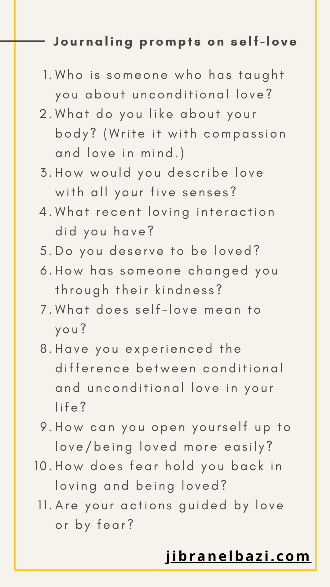 journaling prompts on self-love from jibranelbazi.com