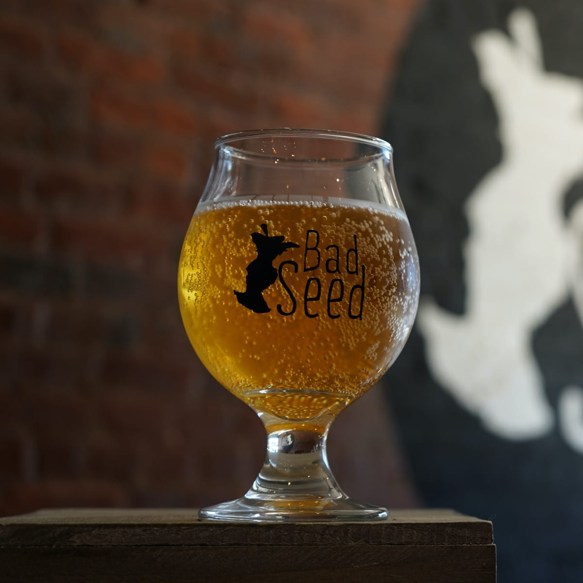 A tulip glass of one of Bad Seed's small batch ciders sitting on a rustic wooden plank with a brick wall in the background.