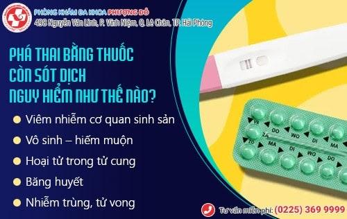 phá thai bằng thuốc còn sót dịch