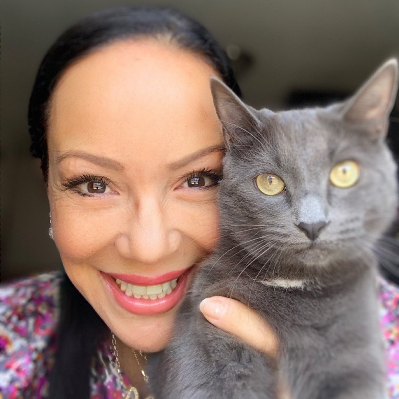 Carla McCarthy and her cat Stormy.