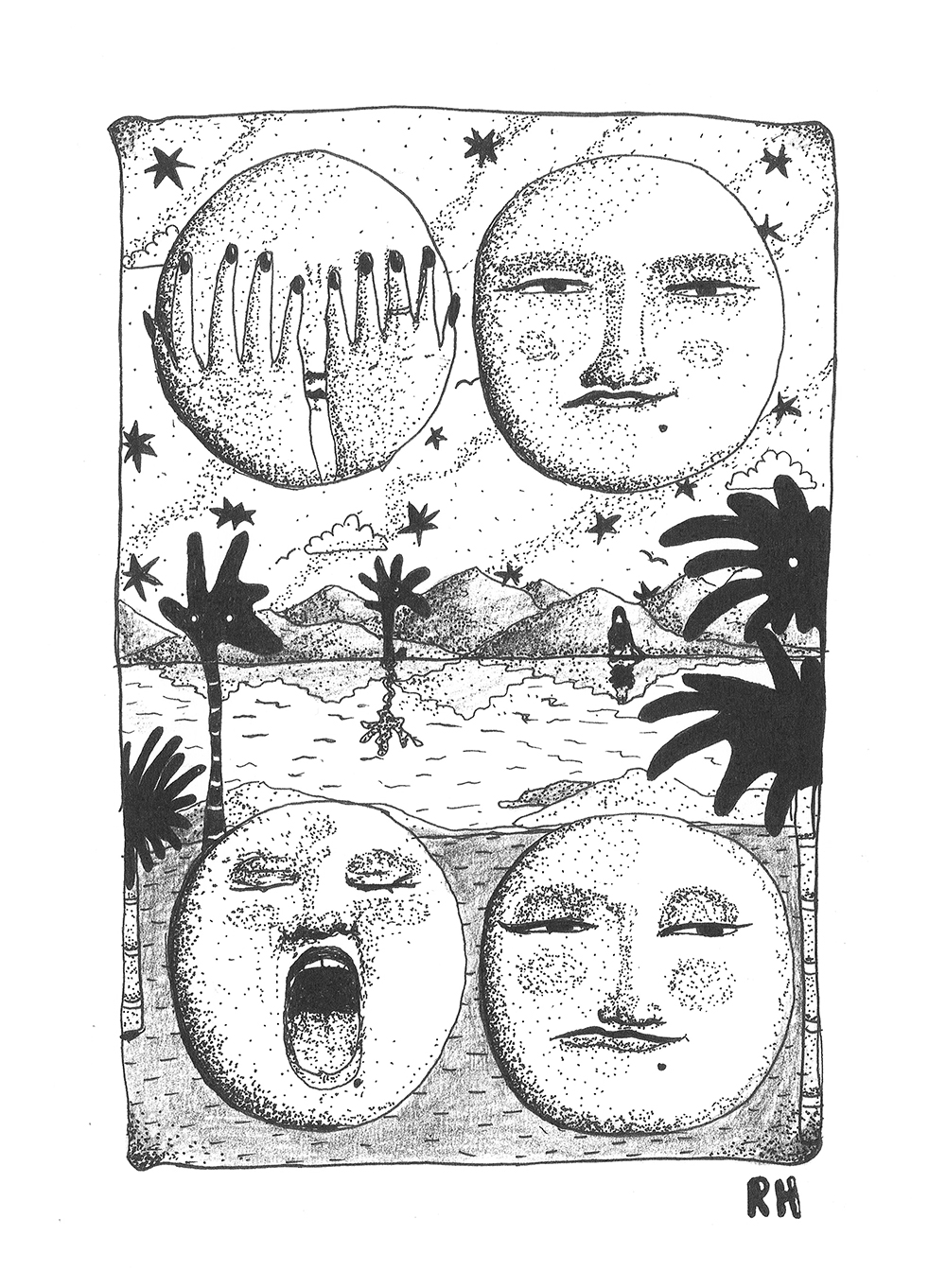 Moons with faces