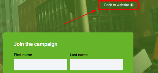 An example optional header link, positioned at the top right of the website