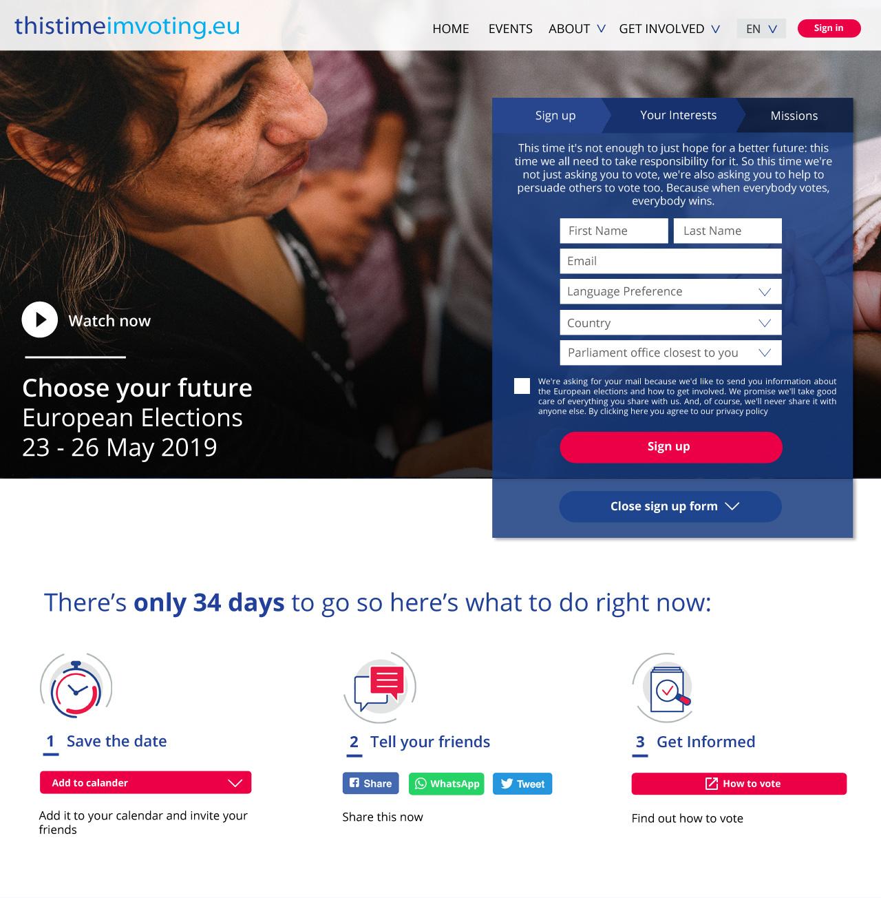 thistimeimvoting.eu Home Page Screenshot