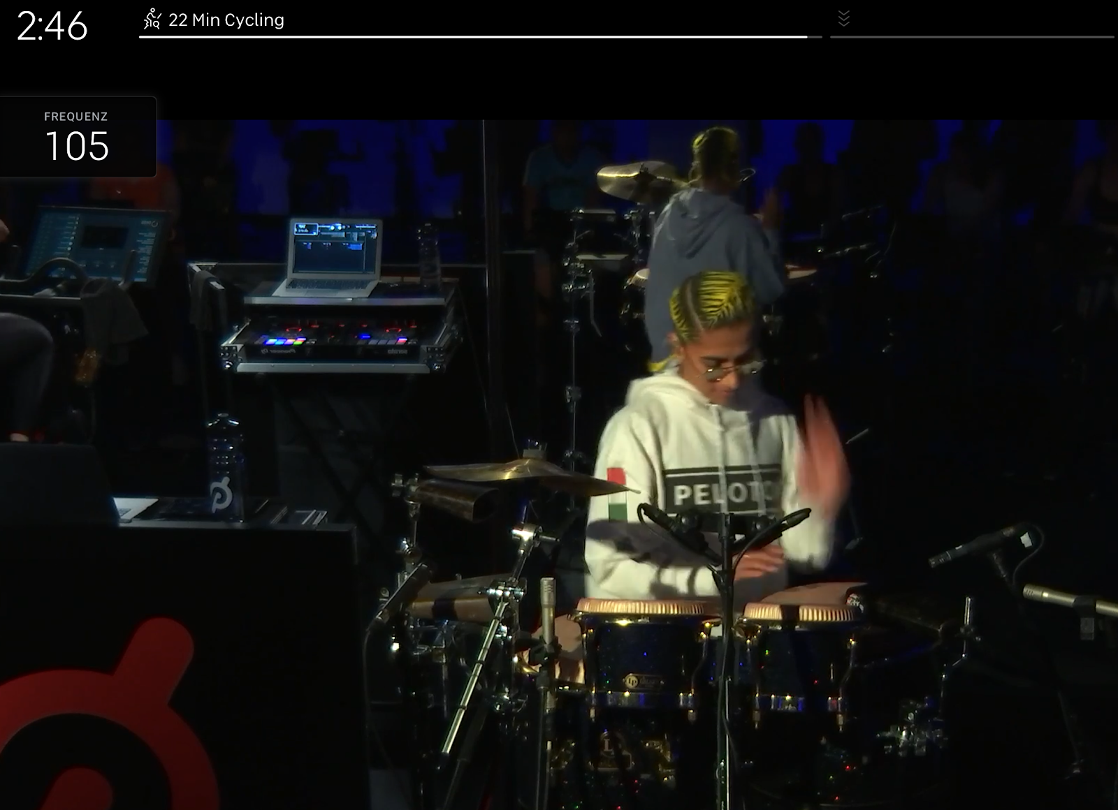 Peloton Tablet view live percussion while cycling