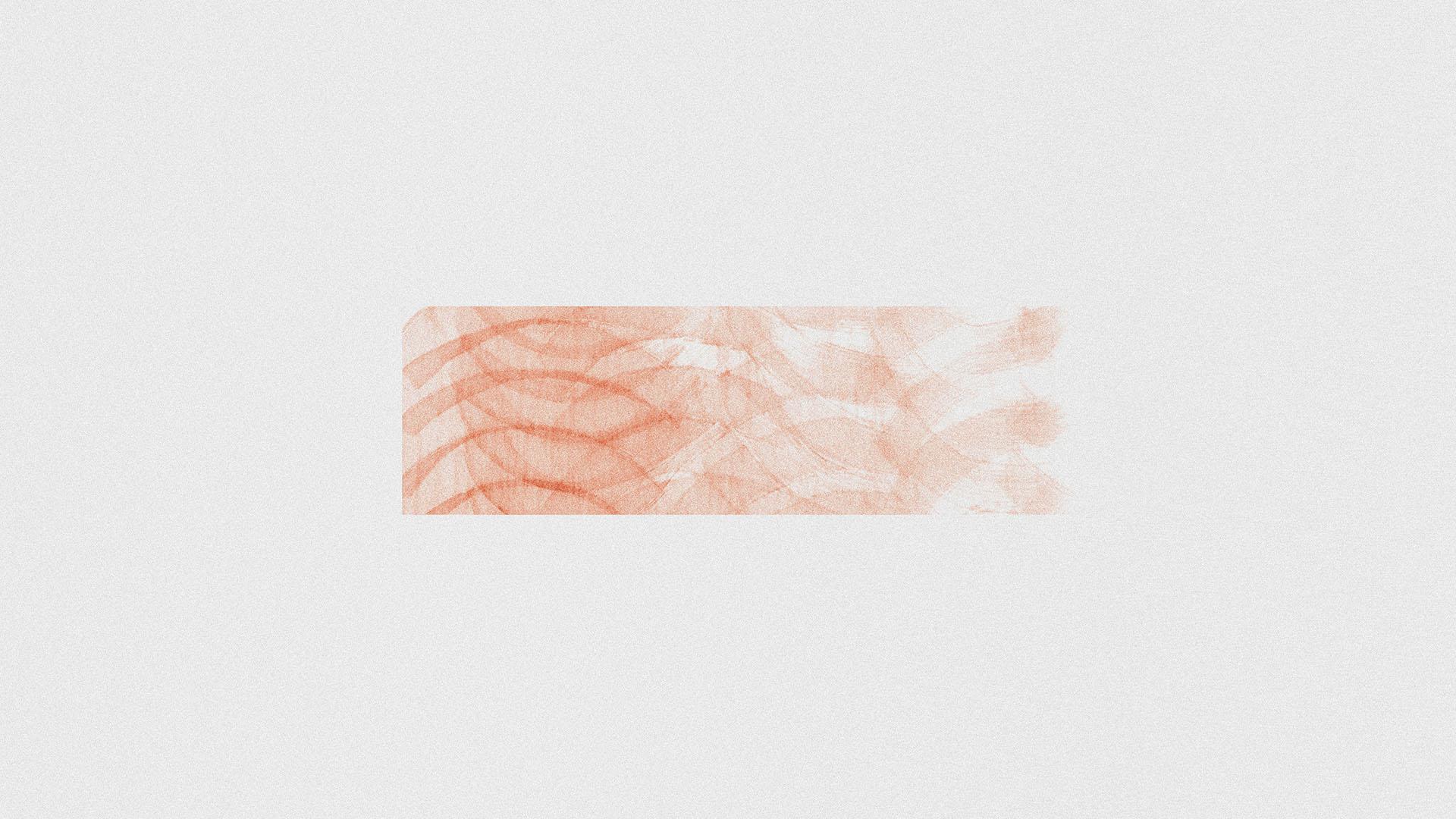 Abstraktes Pinselmuster in Orange auf weißem Hintergrund. Symbolbild für Markenkommunikation.
