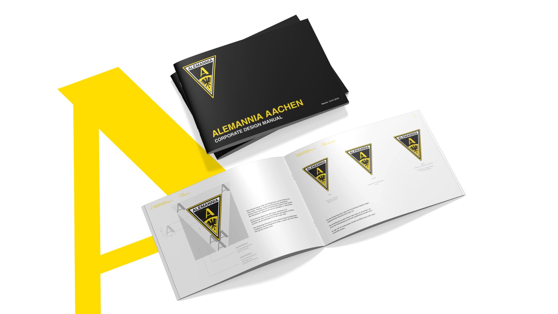 Titelseite und aufgeschlagene Innenseiten des Corporate Design Manuals für die TSV Alemannia Aachen GmbH.