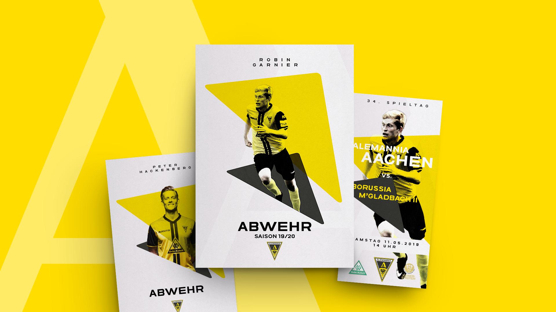 Flyermaterial für Spielankündigungen und Spielerportraits in verschiedenen Variationen für Robin Garnier und Peter Hackenberg.