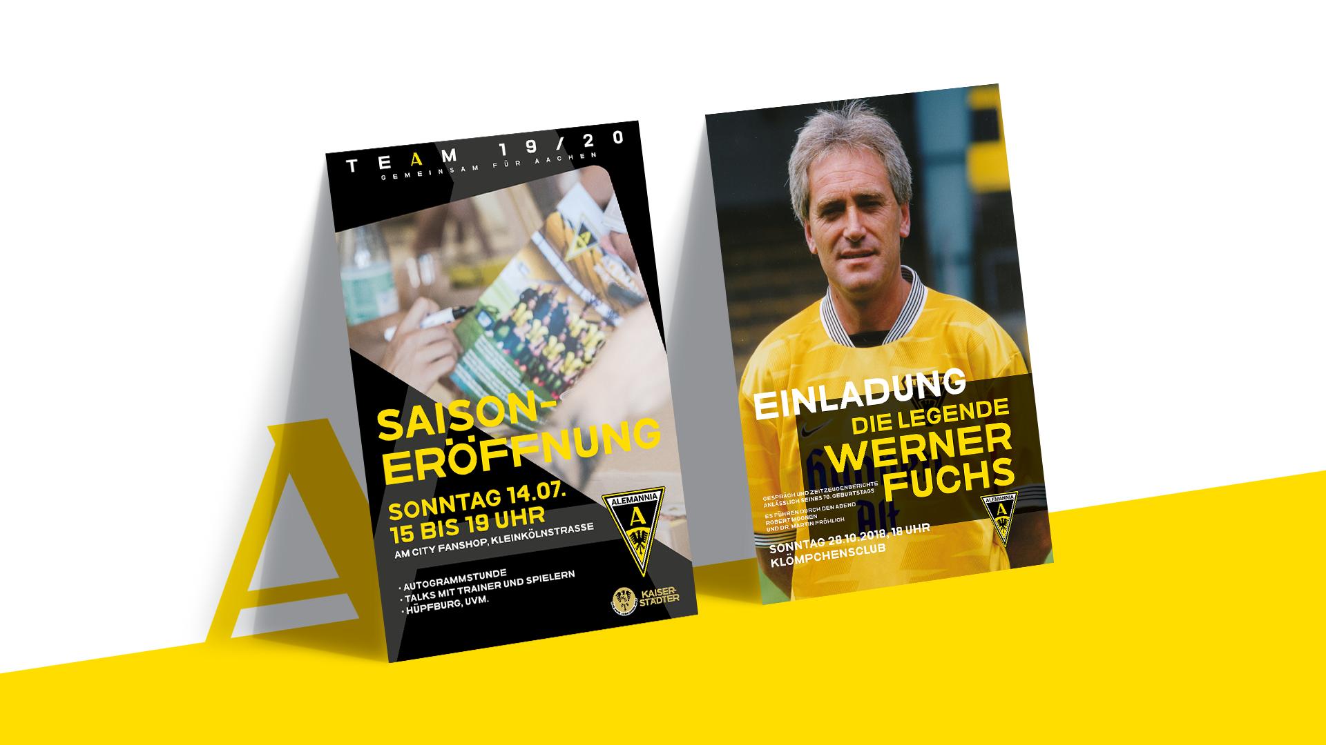Zwei Eventplakate von Alemannia Aachen zur alljährlichen Saisoneröffnung und einem Vortrag zur Person Werner Fuchs.