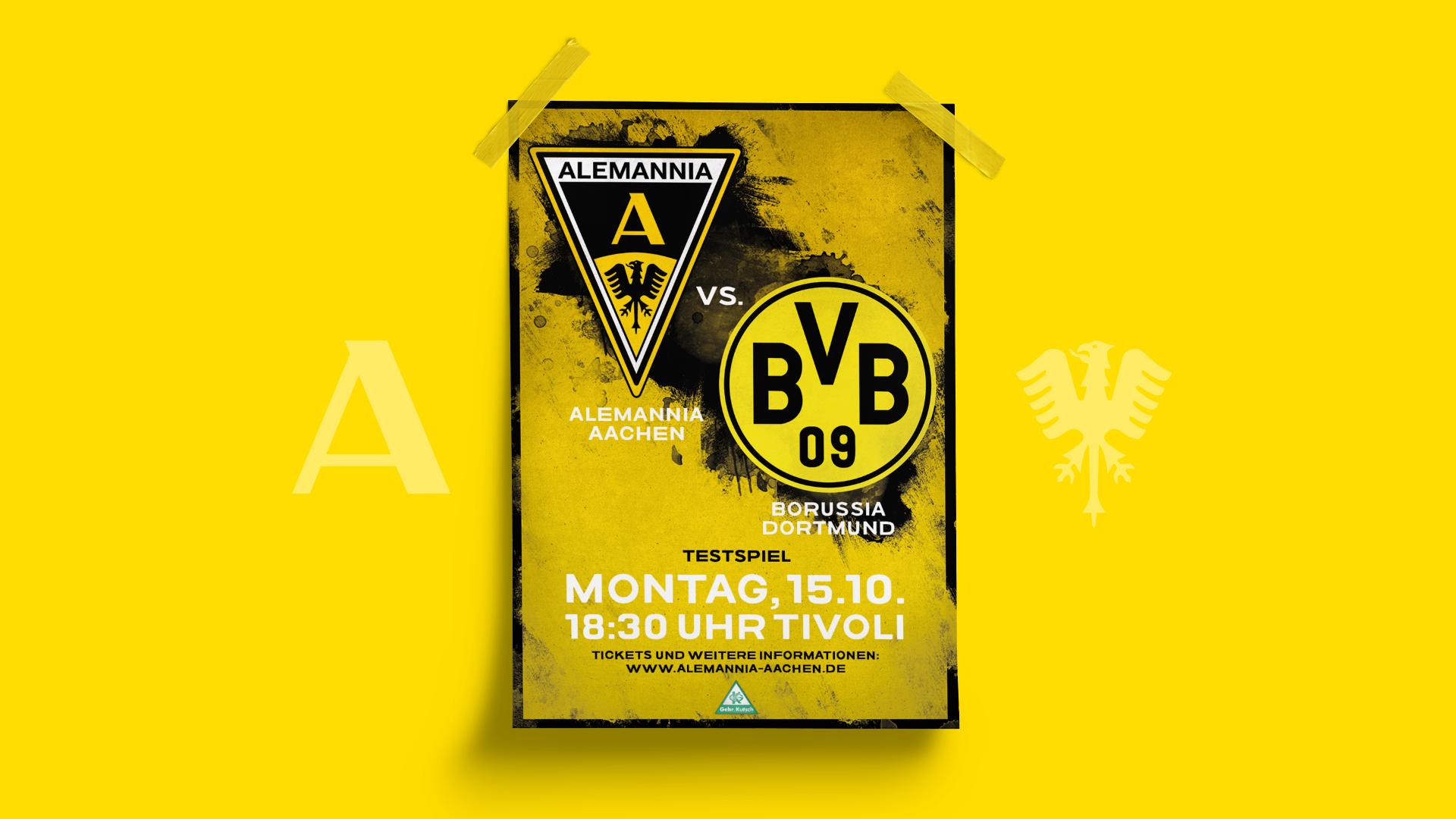 Plakat zur Spielbegegnung Alemannia Aachen gegen die erste Mannschaft von Borussia Dortmund aus der 1. Bundeliga.