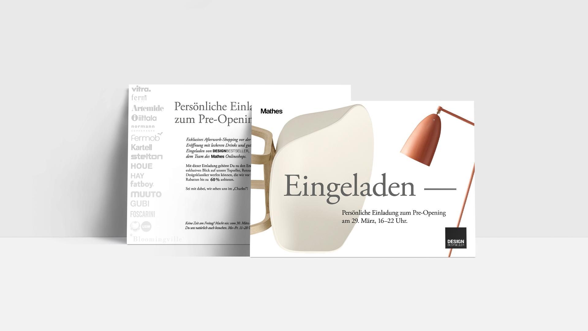 DIN A5 Postkarte mit einer persönlichen Einladung zum Lagerverkauf von Design Bestseller.