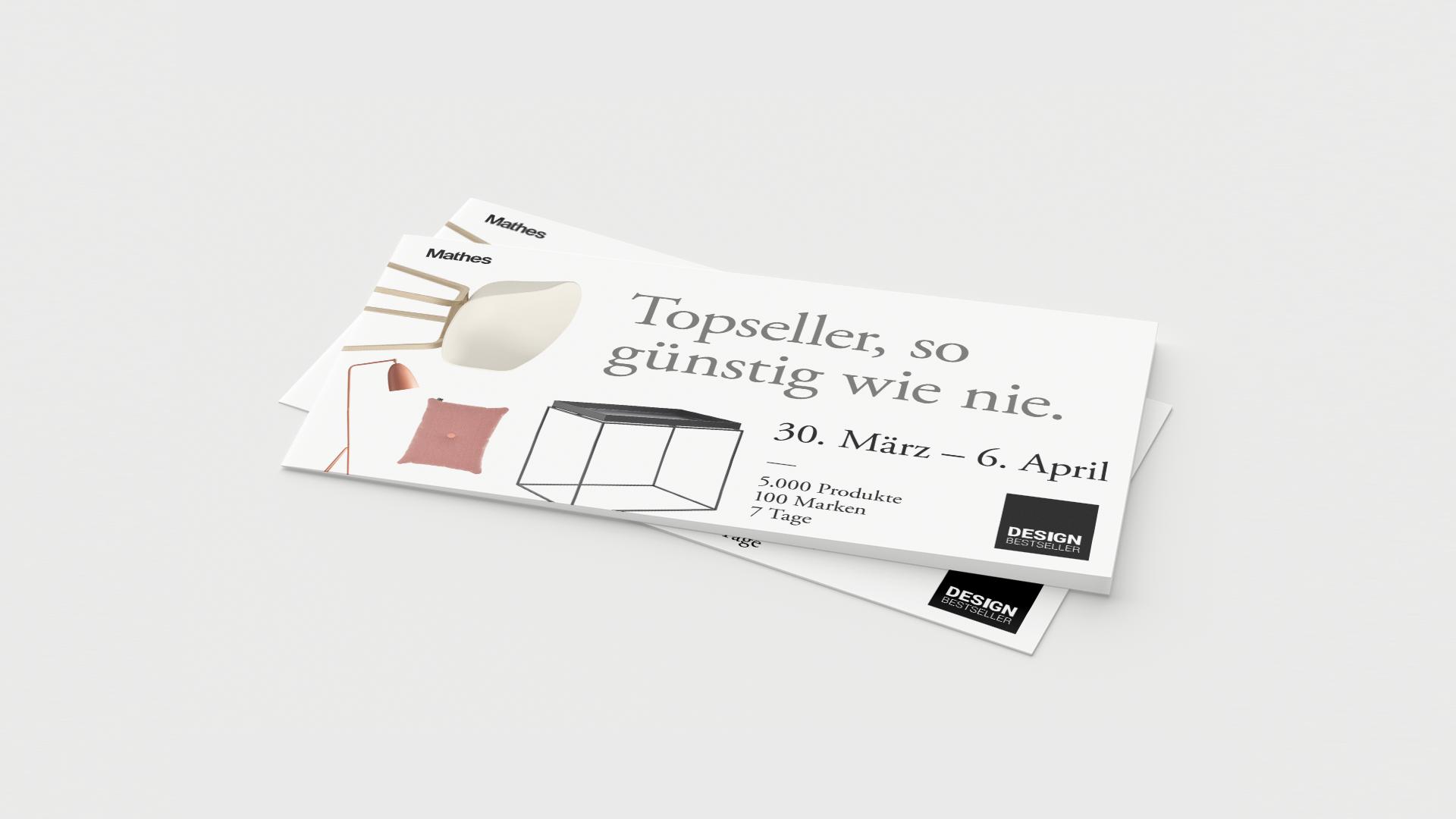 """DIN-Lang Mailings mit dem Claim """"Topseller, so günstig wie nie."""" der Werbekampagne für den Lagerverkauf von Design Bestseller."""