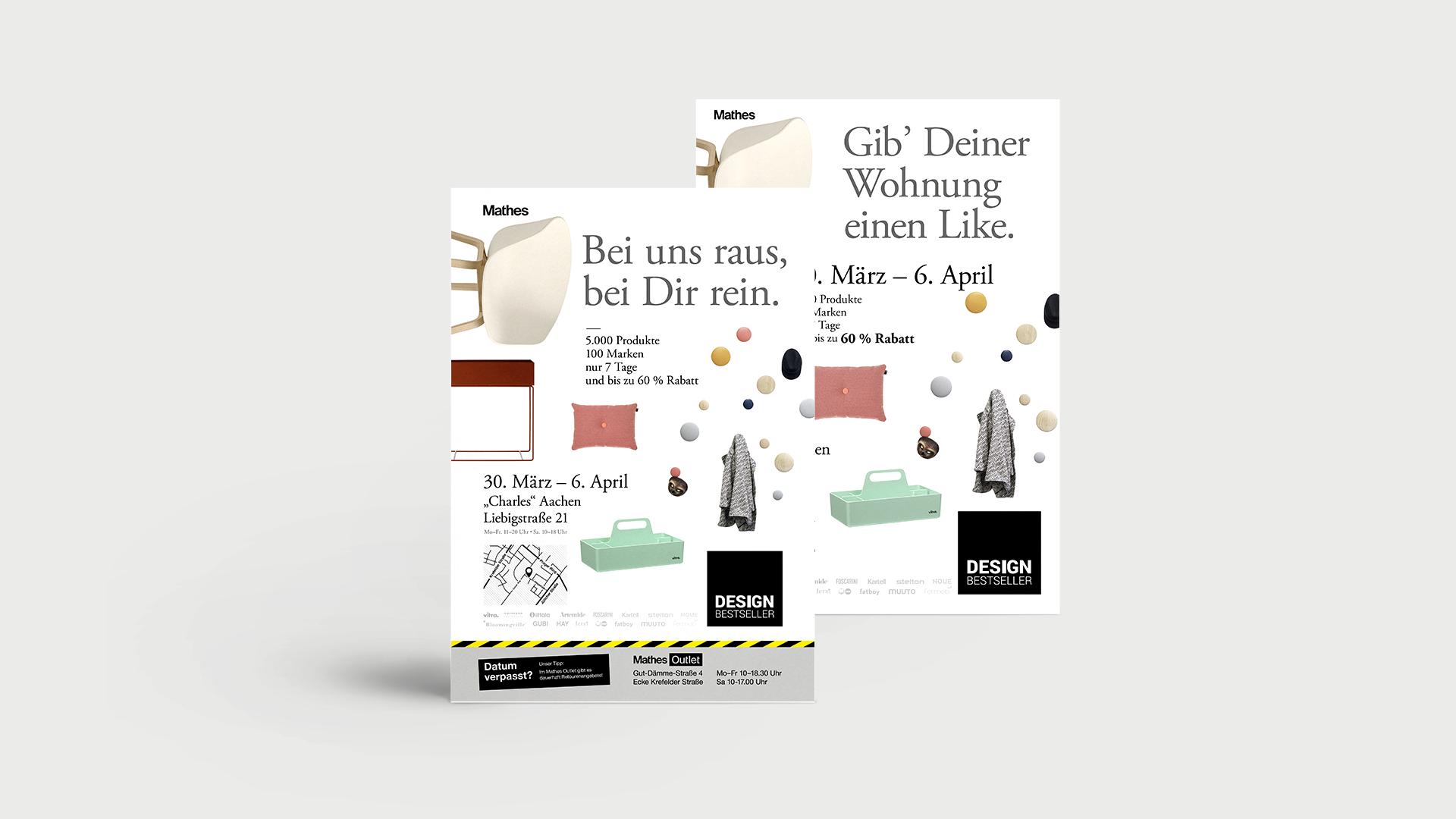 """Zwei Plakate und Poster der mit dem Claim """"Bei uns raus, bei Dir rein"""" der Werbekampagne für den Lagerverkauf von Design Bestseller."""