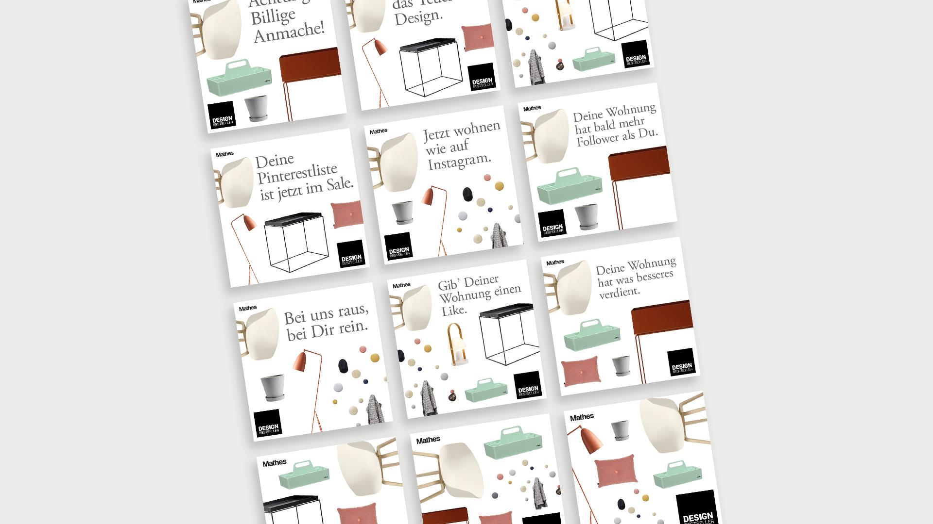 Viele verschiedene Claims und Designentwürfe für Instagrampostings der Werbekampagne für den Lagerverkauf von Design Bestseller.