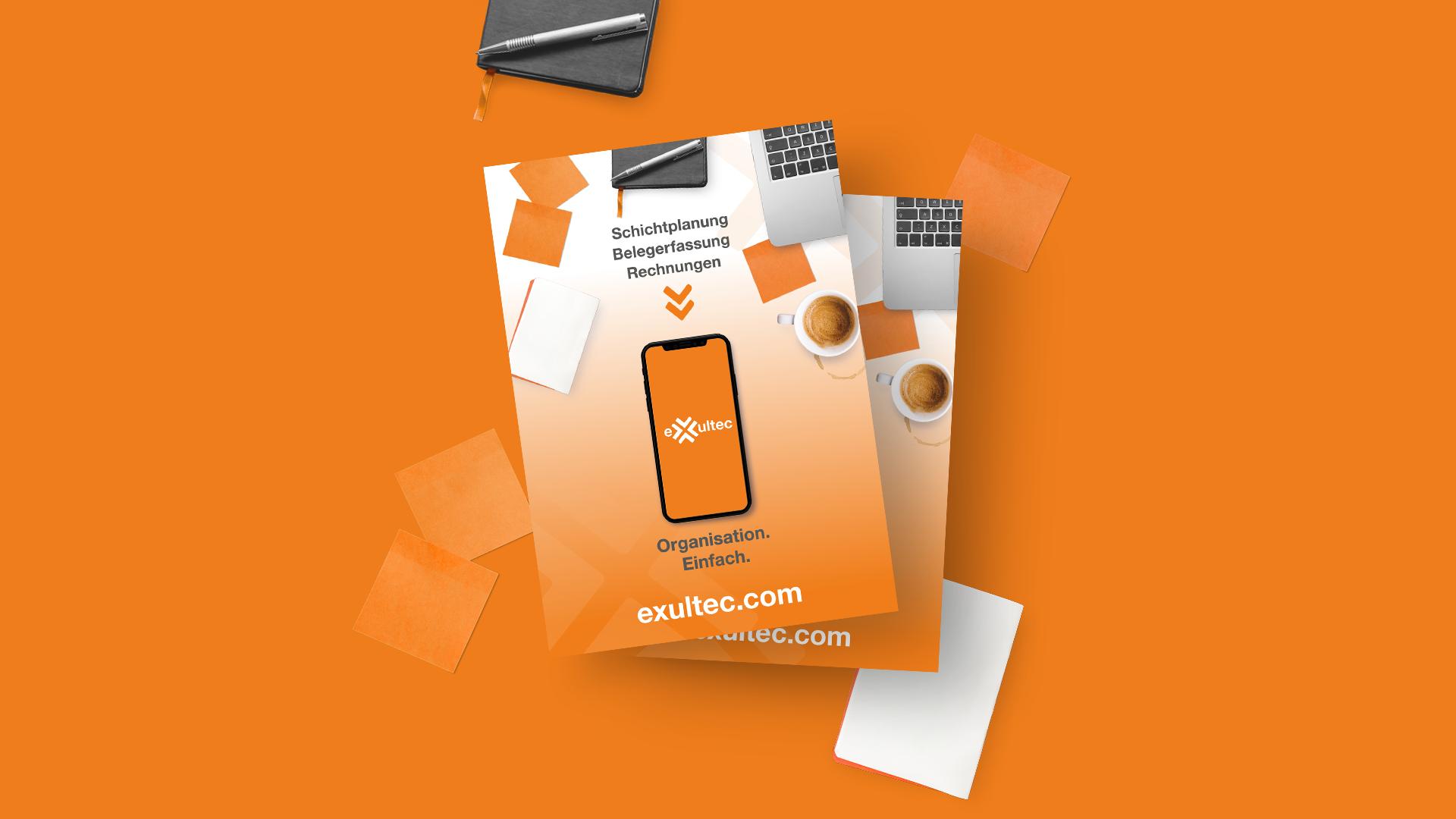 """DIN A5 Flyer für Messeauftritte von Exultec mit dem Claim: """"Organisation. Einfach."""""""