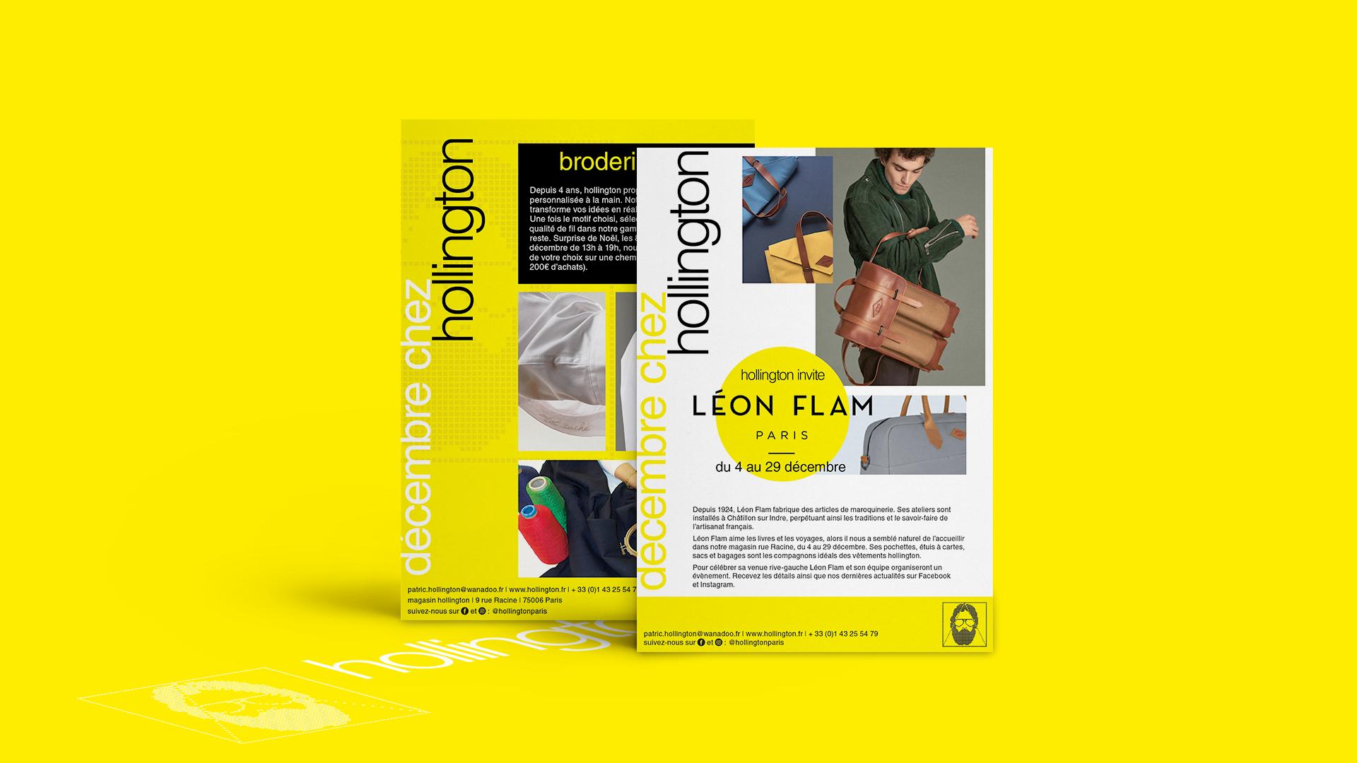 Flyer für eine Kooperationskollektion von der Lederwarenmarken Léon Flam und Hollington, sowie einer Stickereiaktion im Hollington Shop.