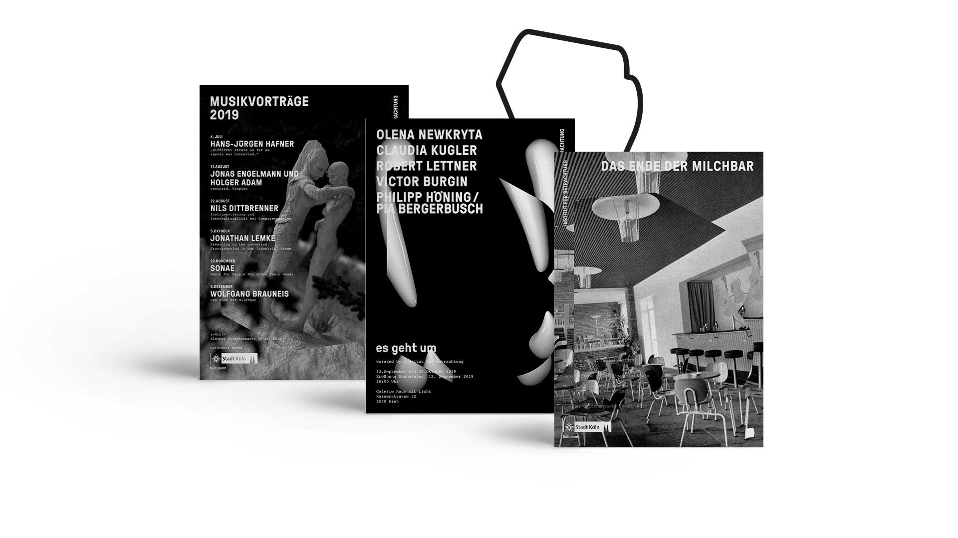 Drei Poster mit Veranstaltungsankündigungen des Instituts für Betrachtung.