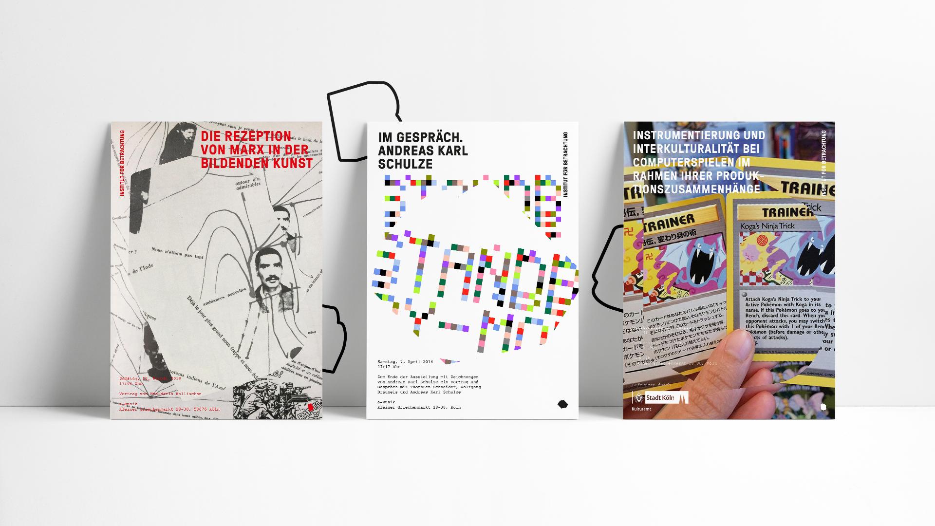 Drei nebeneinander platzierte Poster mit Veranstaltungsankündigungen des Instituts für Betrachtung.
