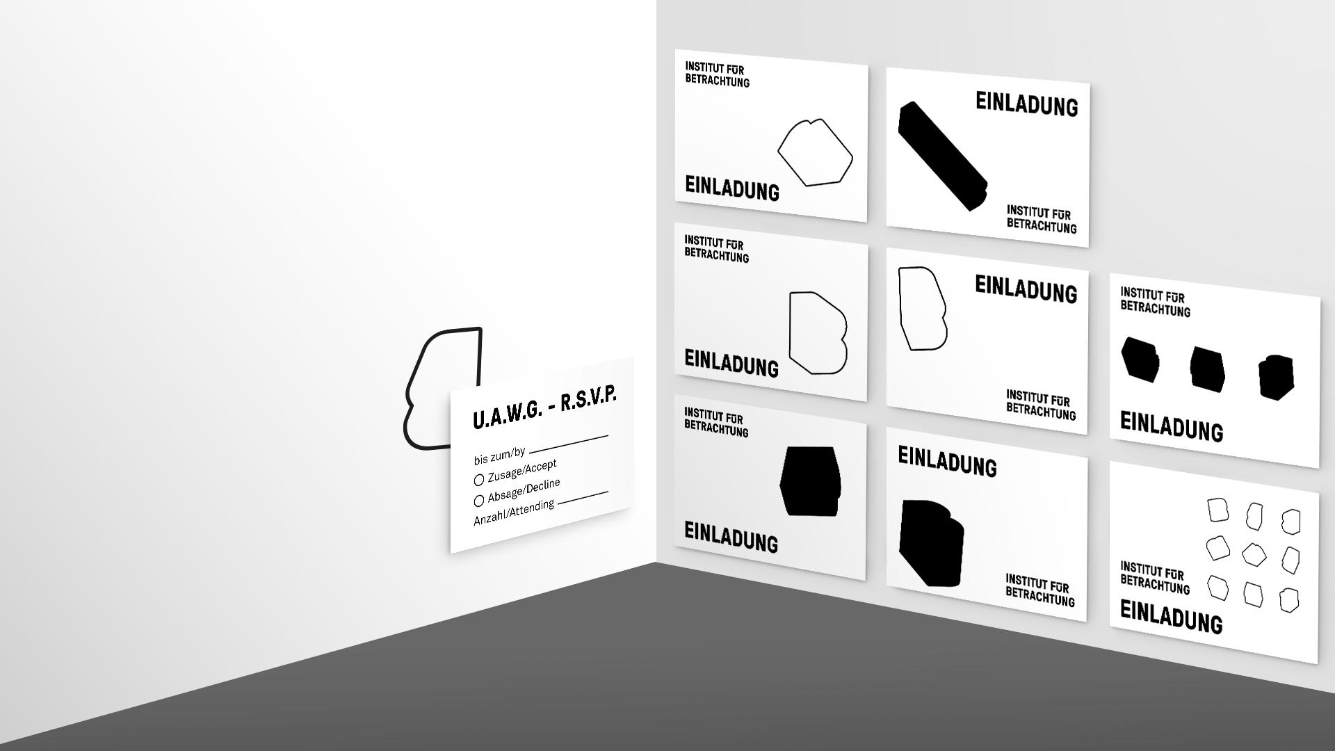 Entwürfe für Einladungskarten des Instituts für Betrachtung.