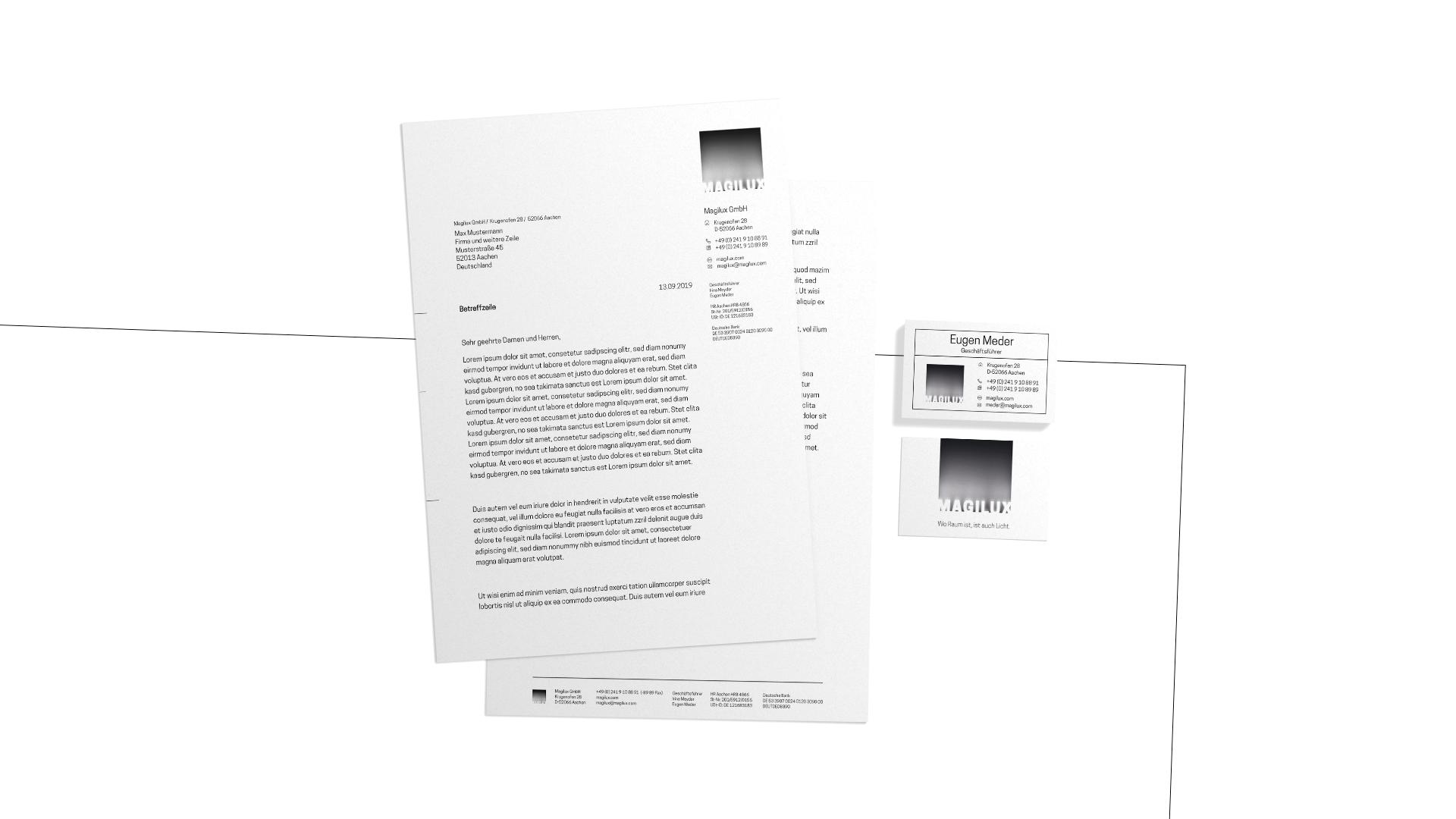 Geschäftsaustattung: Briefpapier und Visitenkarte im Corporate Design von MAGILUX.
