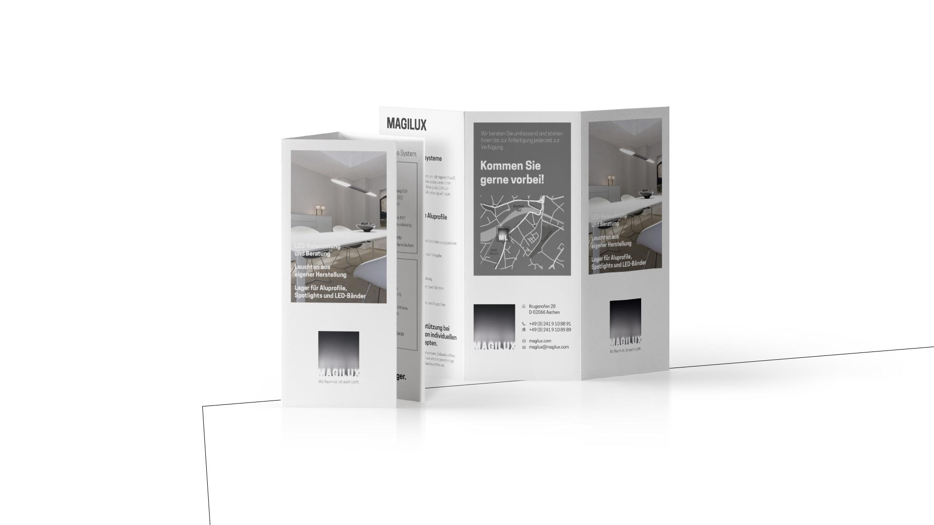 MAGILUX DIN-lang Flyer mit geöffneter Ansicht und Angeboten aus dem Sortiment.