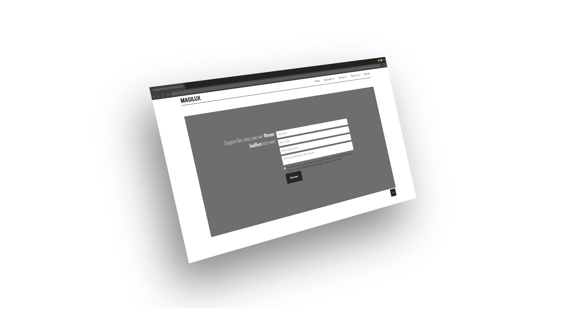"""Screenshot des Kontakformulars von der MAGILUX Website mit der Nachricht """"Sagen Sie uns, wie wir Ihnen helfen können""""."""