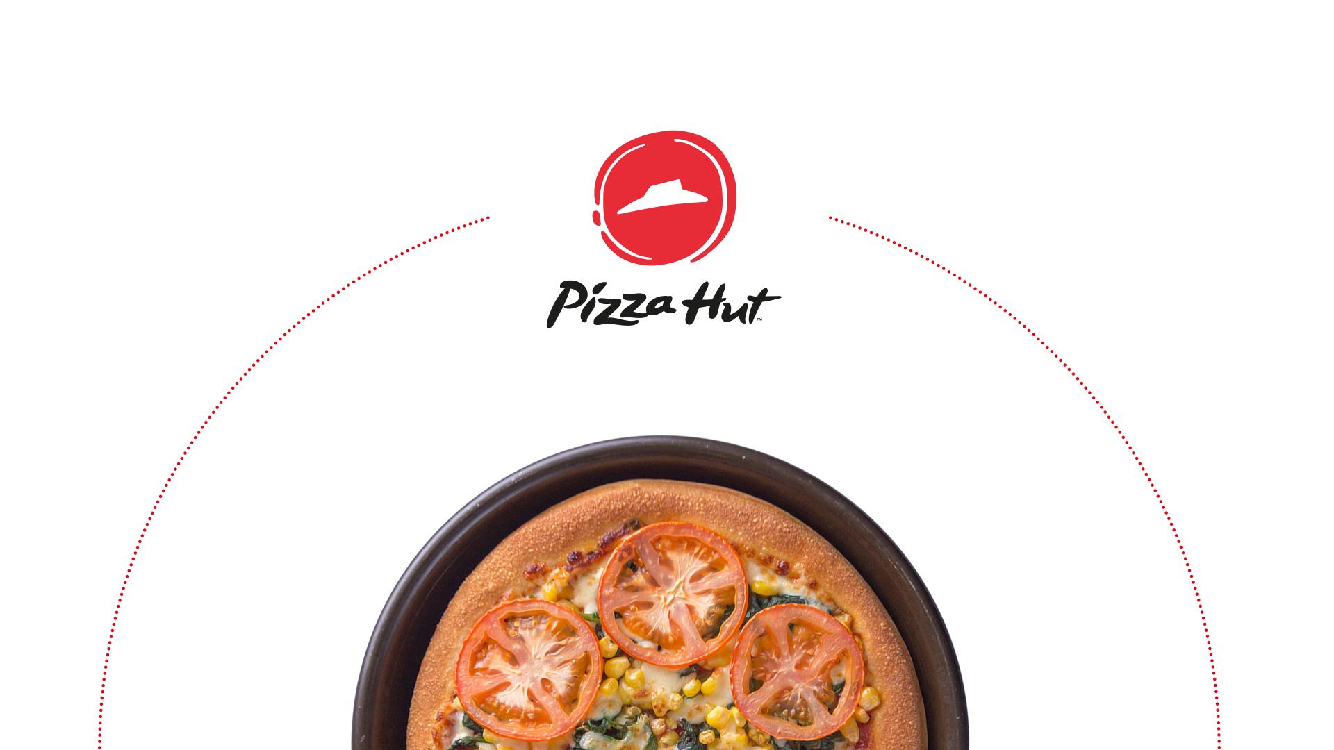 Pizza Hut Logo und Pan Pizza im Anschnitt.