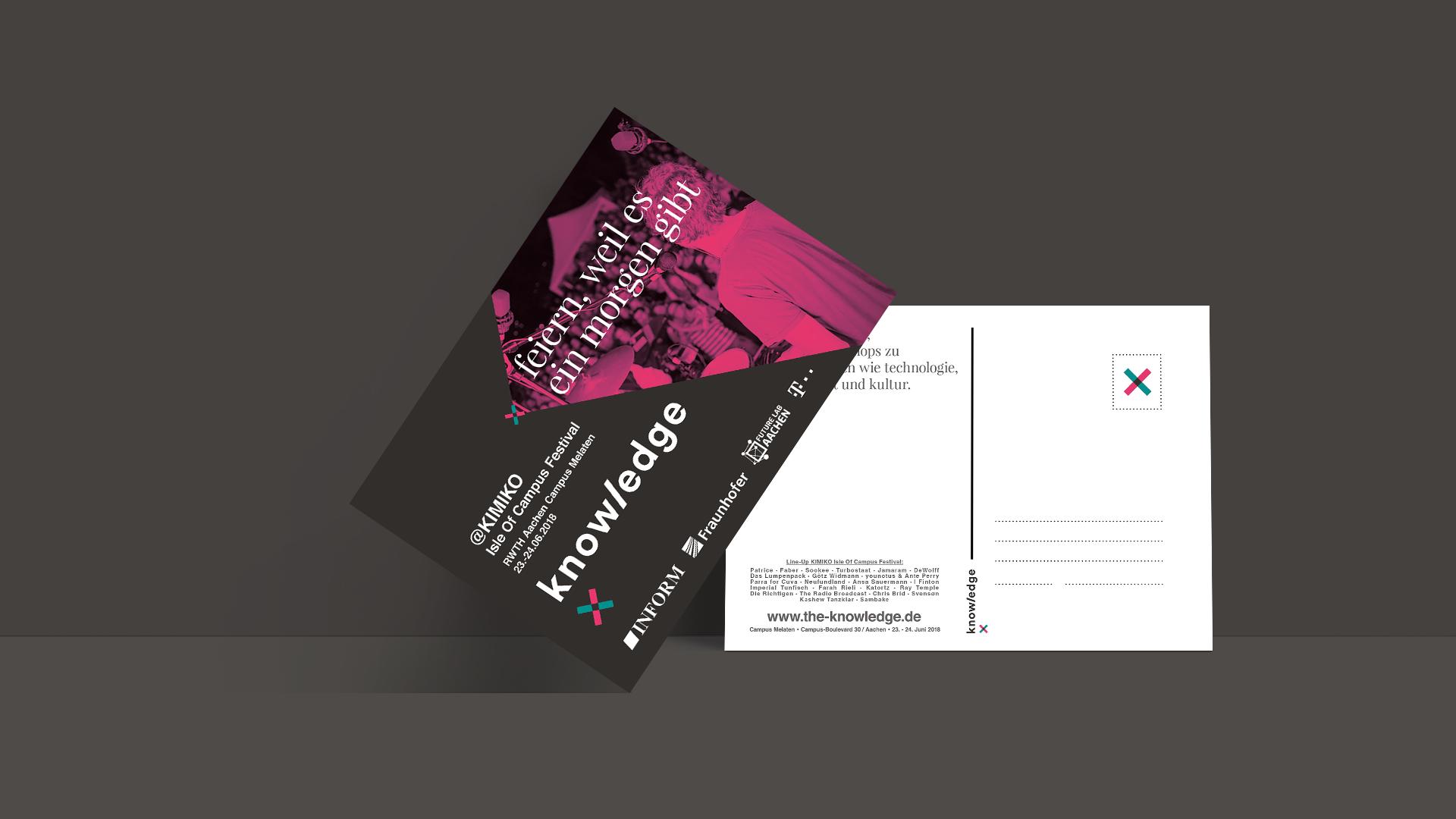 """Postkartenvorder- und Rückseite im Corporate Design von The Knowledge mit dem Titel """"Feiern, weil es ein Morgen gibt"""" und dem KIMIKO Lineup."""