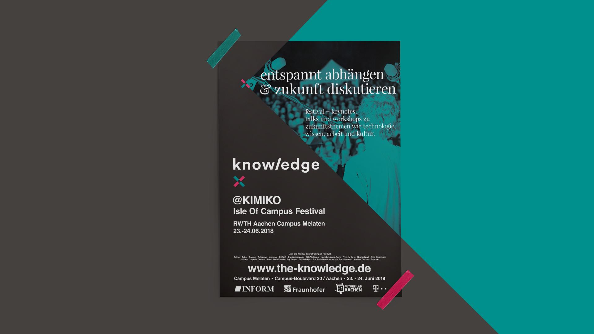 """Poster im Corporate Design von The Knowledge mit dem Titel """"Entspannt abhängen & Zukunft diskutieren."""""""