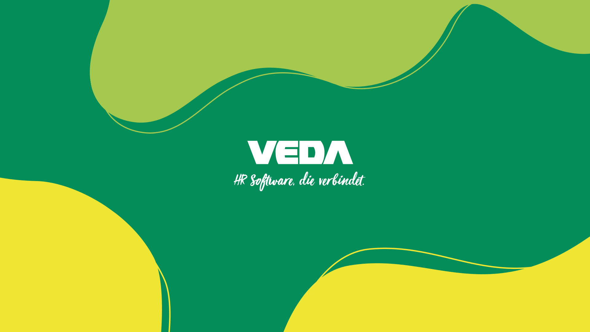 """Logo des VEDA Employer Brandings mit dem Claim """"HR Software, die verbindet""""."""