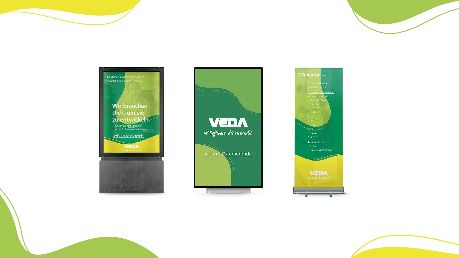 Adaption des VEDA Employer Brandings auf Citylight Leuchtkasten, vertikalem Bildschirm und Rollup Banner.
