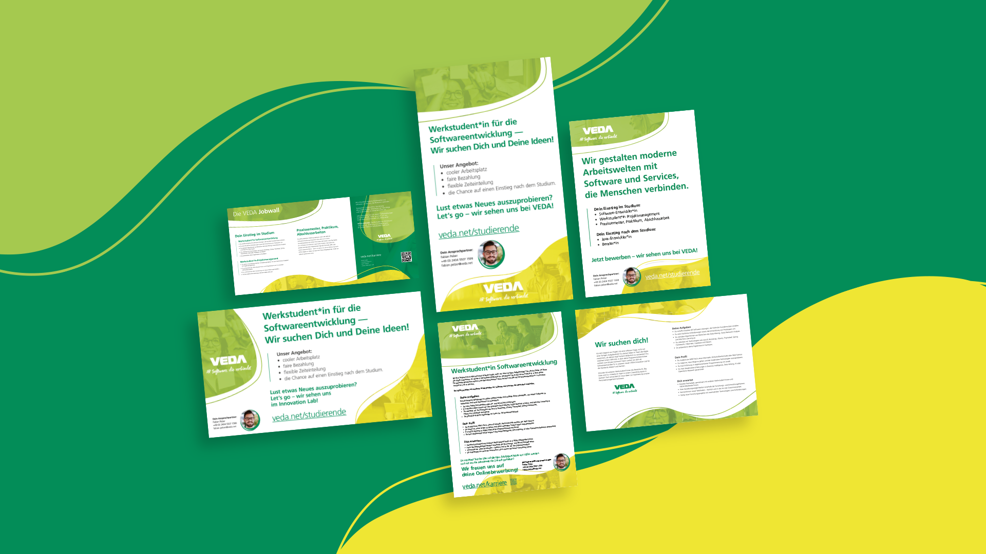 Gesammelte Übersicht diverser Formate für Stellenausschreibungen im VEDA Employer Branding.