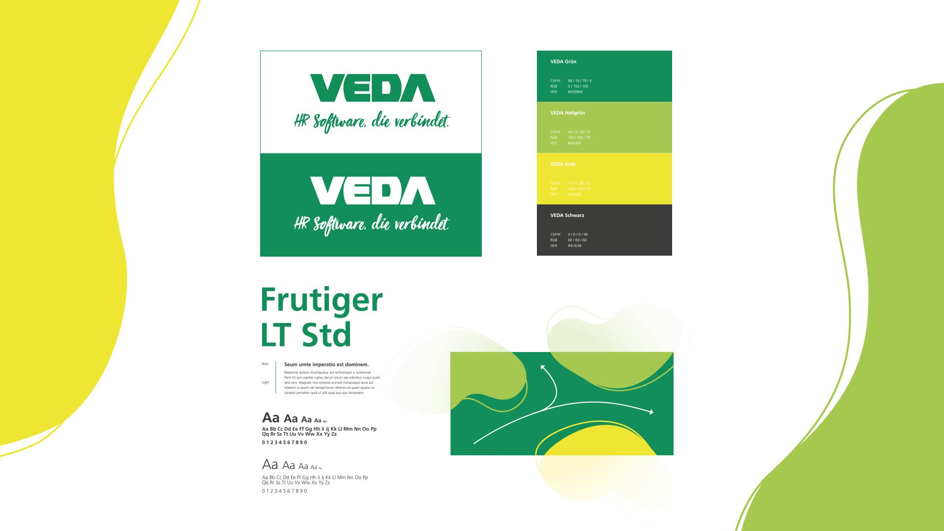 Vorderseite des VEDA Employer Branding Styleguides und einem weiteren Exemplar mit aufgeschlagenen Seiten.
