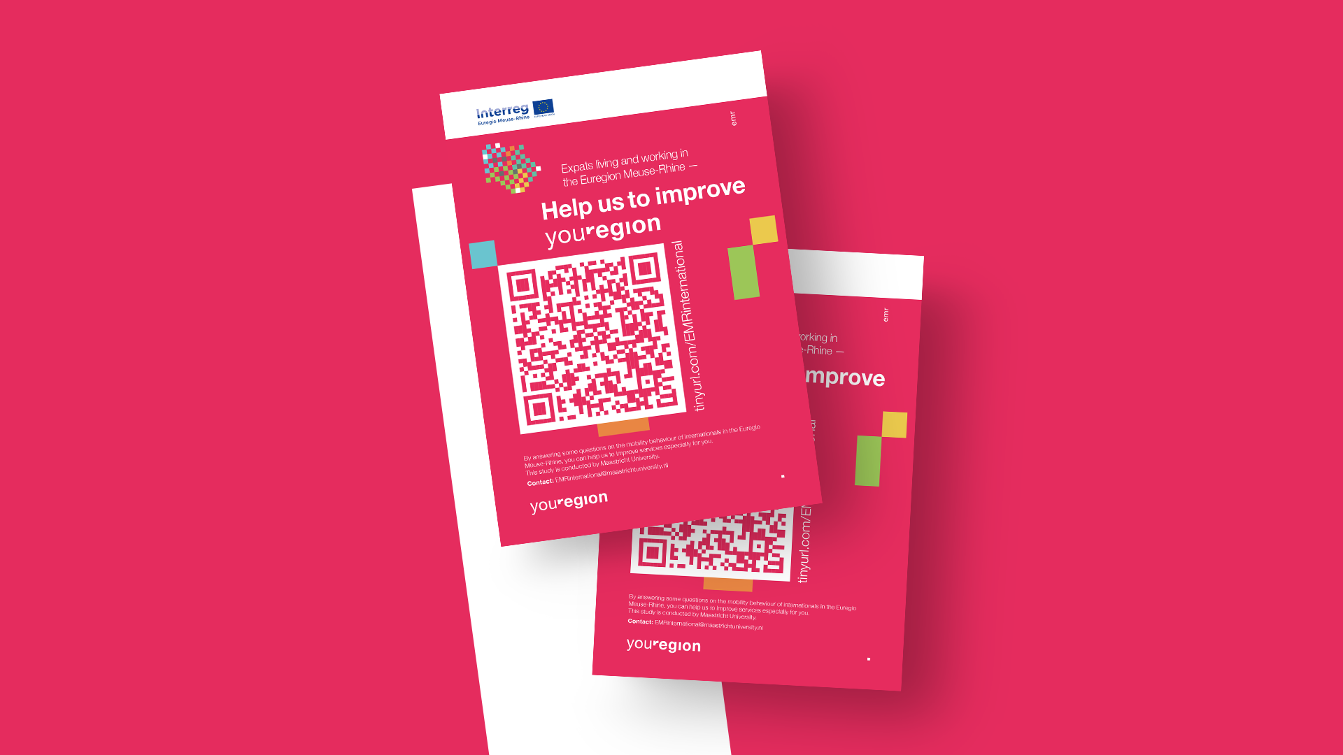 Wurfzettel des Interreg Euregio Maas-Rhein Projektes youRegion mit einem QR-Code für eine Meinungsumfrage.
