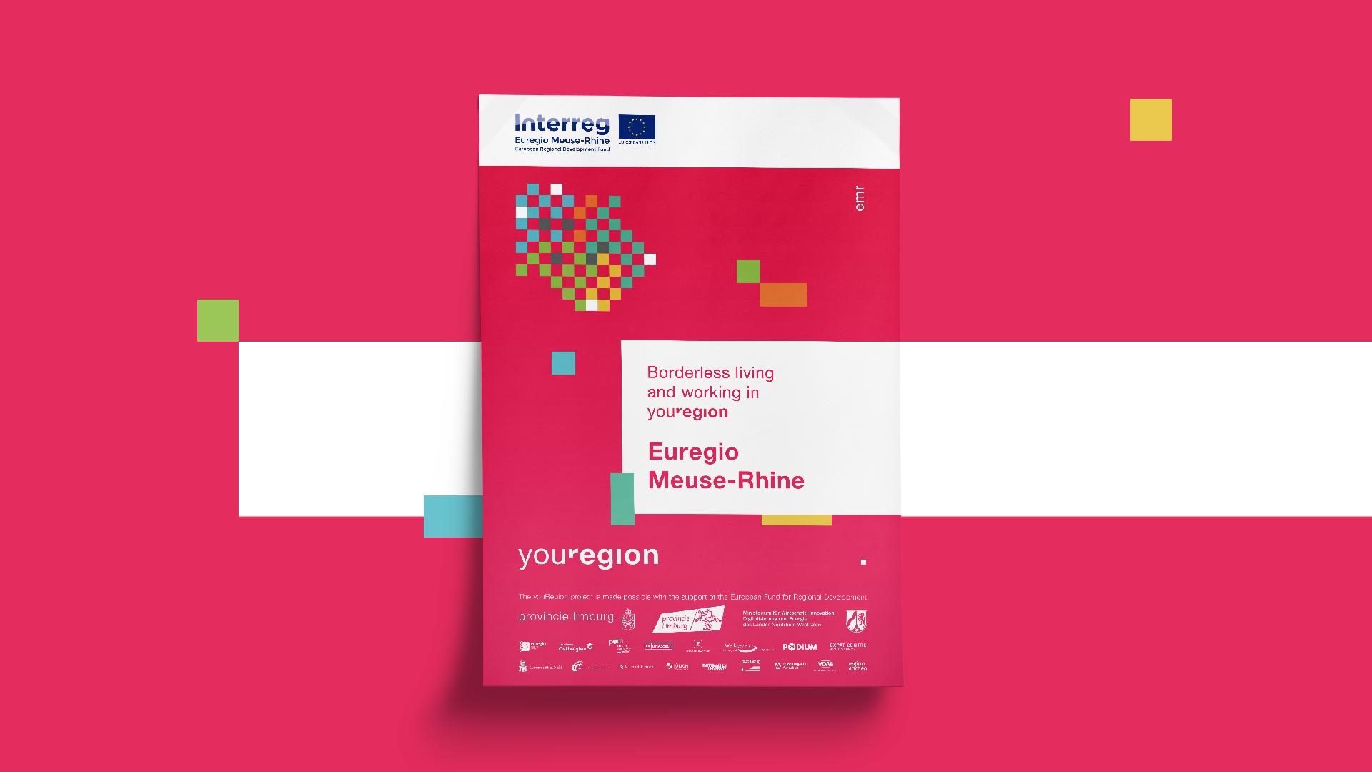 """Poster des Interreg Euregio Maas-Rhein Projektes youRegion mit dem Titel """"Borderless living and working in youRegion""""."""