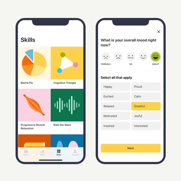 Skills library and mood tracking features
